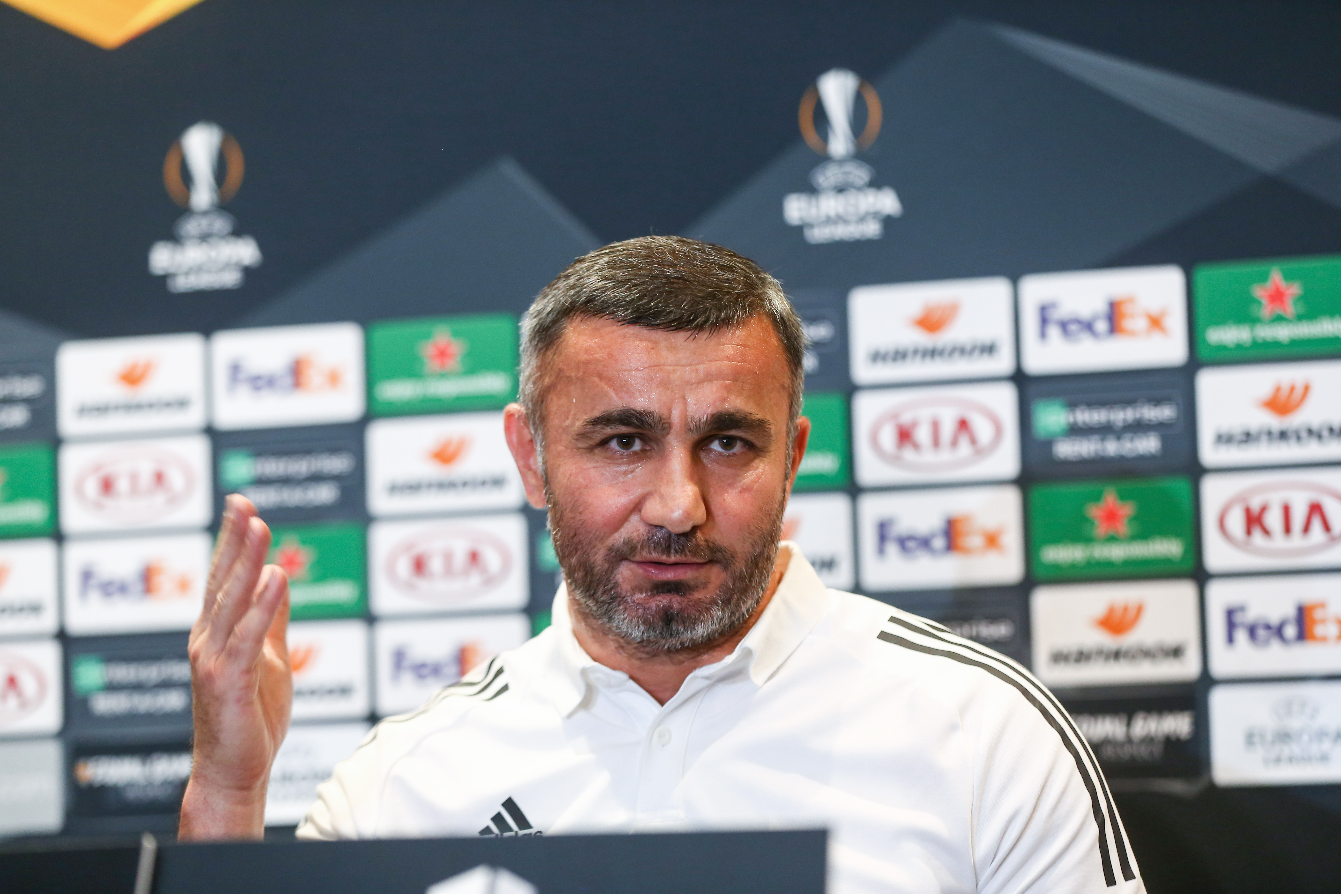 Press conference of Qarabag FK of UEFA Europa League match against Villareal