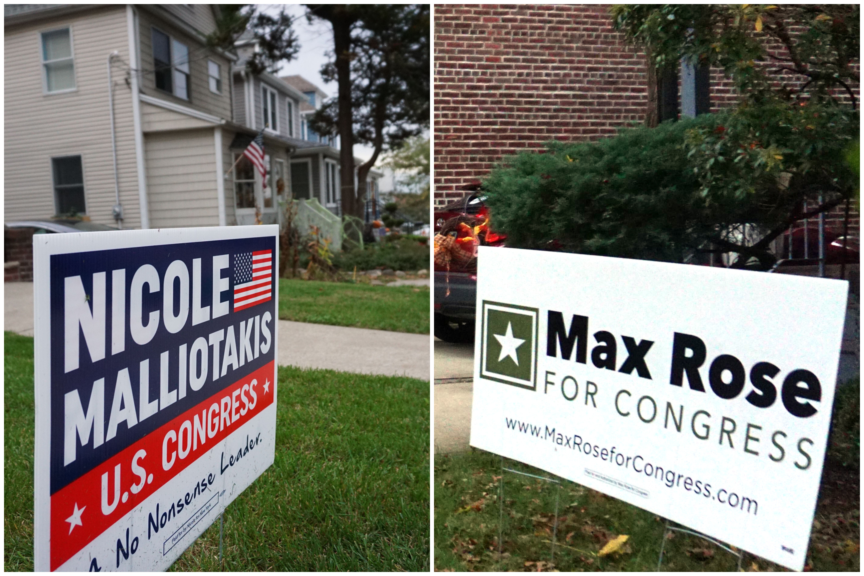 Signs for Congressional candidates Rep. Max Rose and Nicole Malliotakis dotted the West Brighton neighborhood of Staten Island, Oct. 28, 2020.