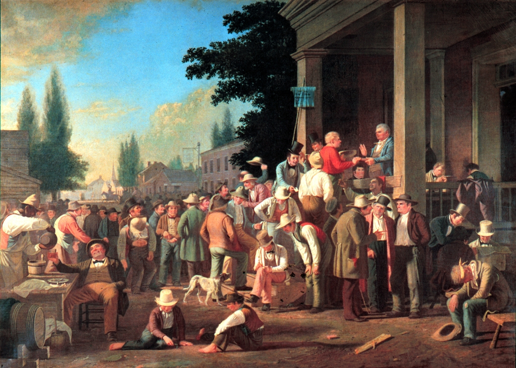 19th century realist painting showing several men milling around.