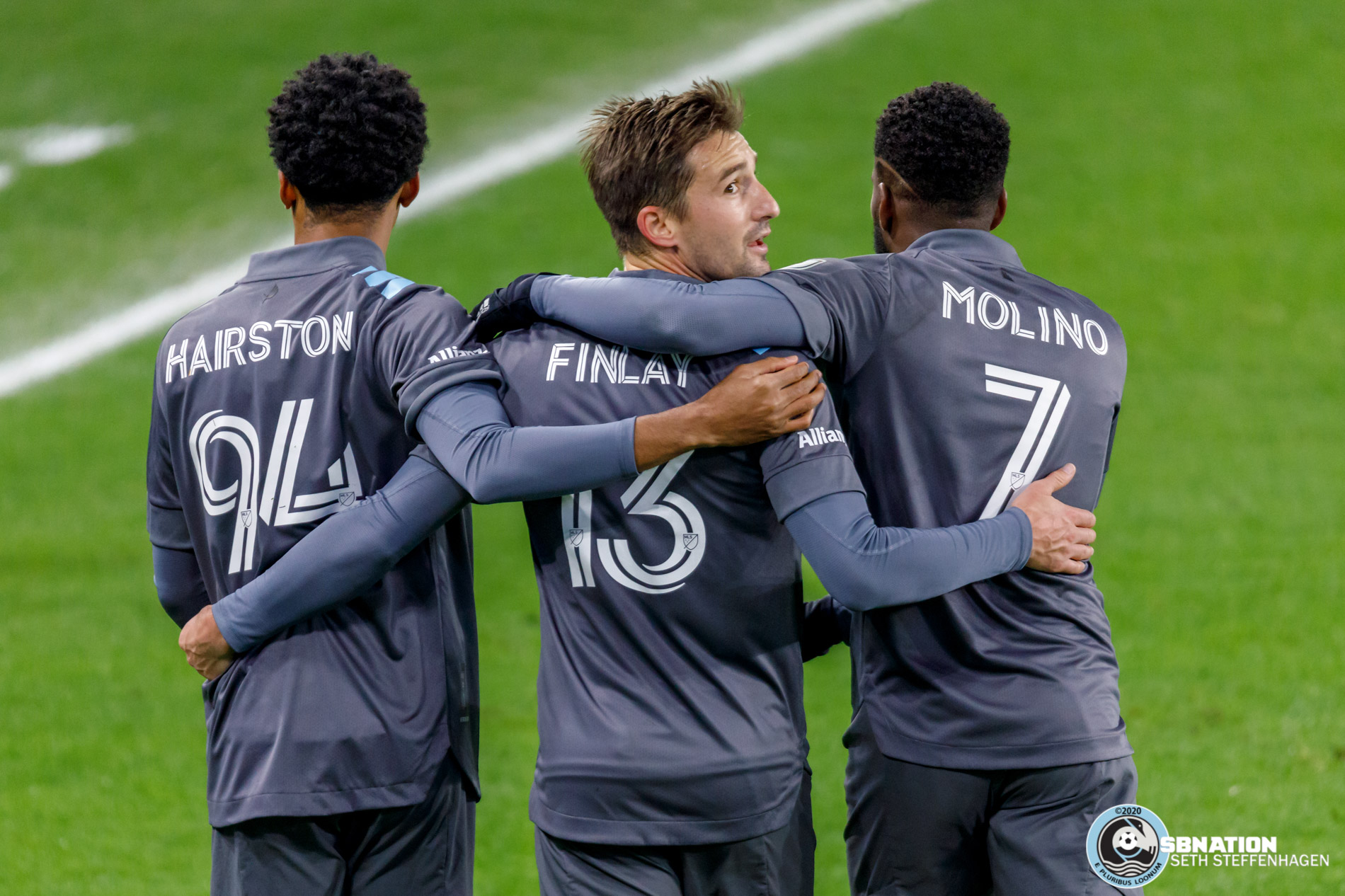 October 28, 2020 - Saint Paul, Minnesota, United States - Minnesota United midfielder Ethan Finlay (13) celebrates with teammates after crossing the ball that lead to an own goal for Minnesota United against the Colorado Rapids at Allianz Field.