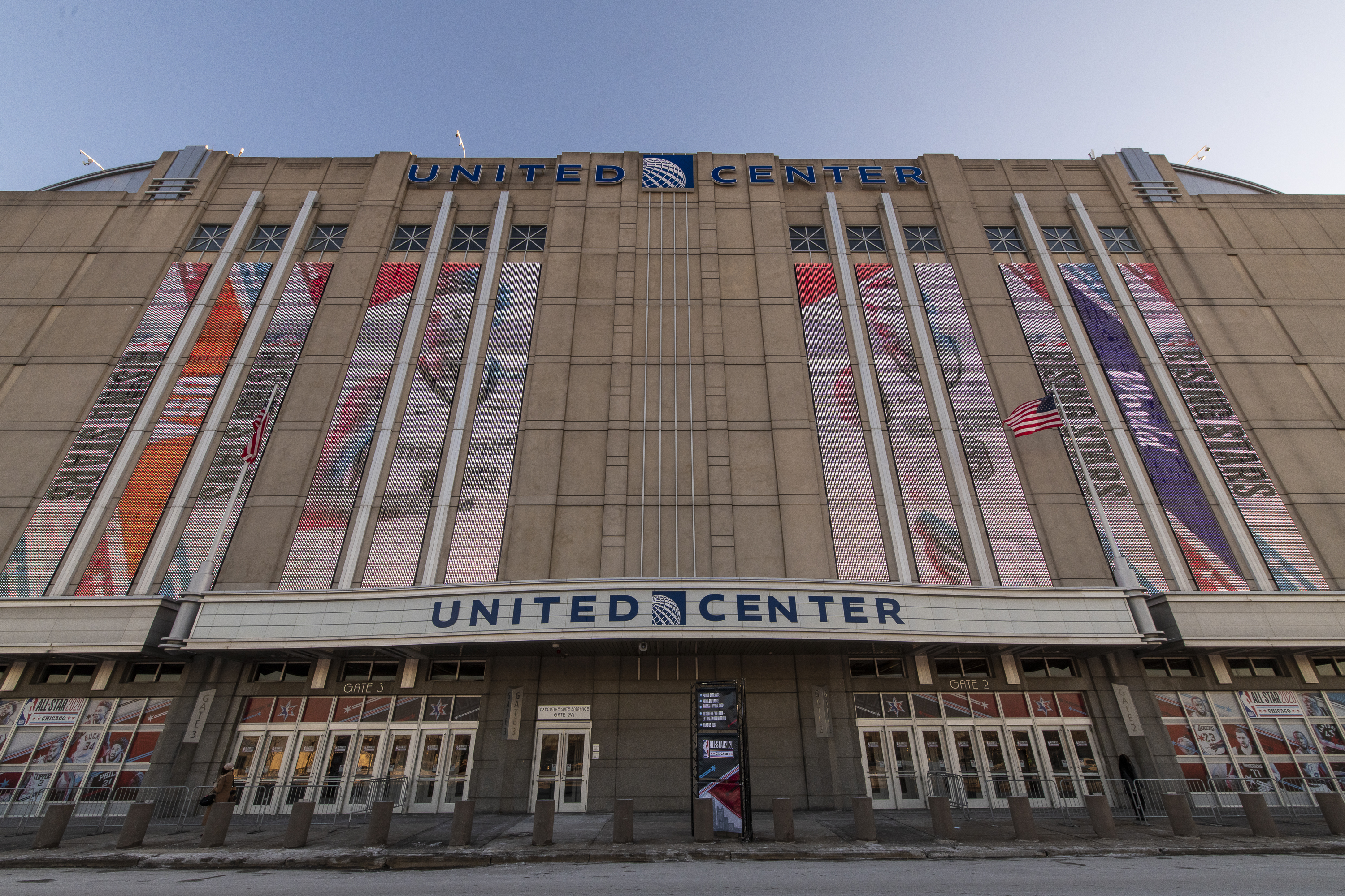 The exterior of the United Center in Chicago
