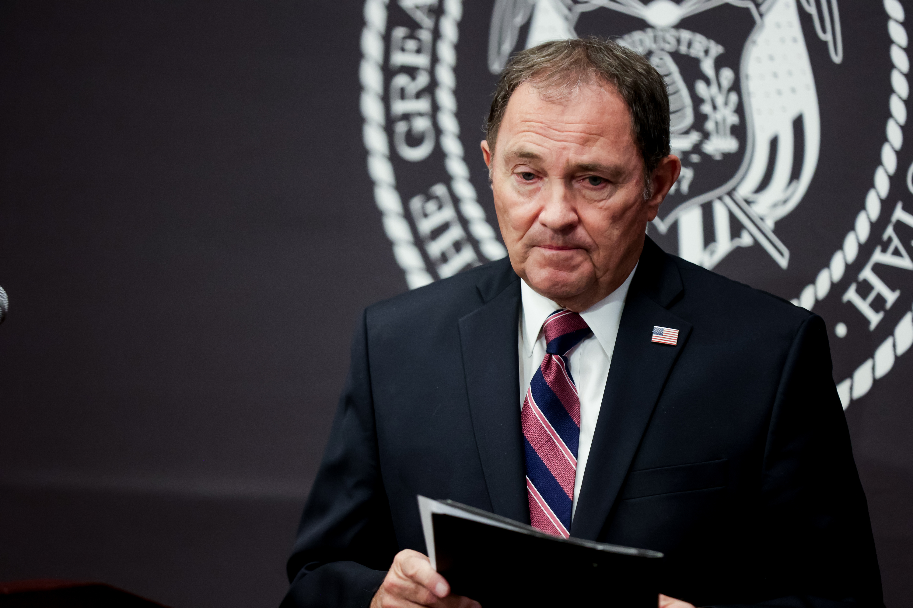 Gov. Gary Herbert hands the podium off to state epidemiologist Dr. Angela Dunn, not pictured, during a COVID-19 briefing at the Capitol in Salt Lake City on Thursday, Oct. 29, 2020.