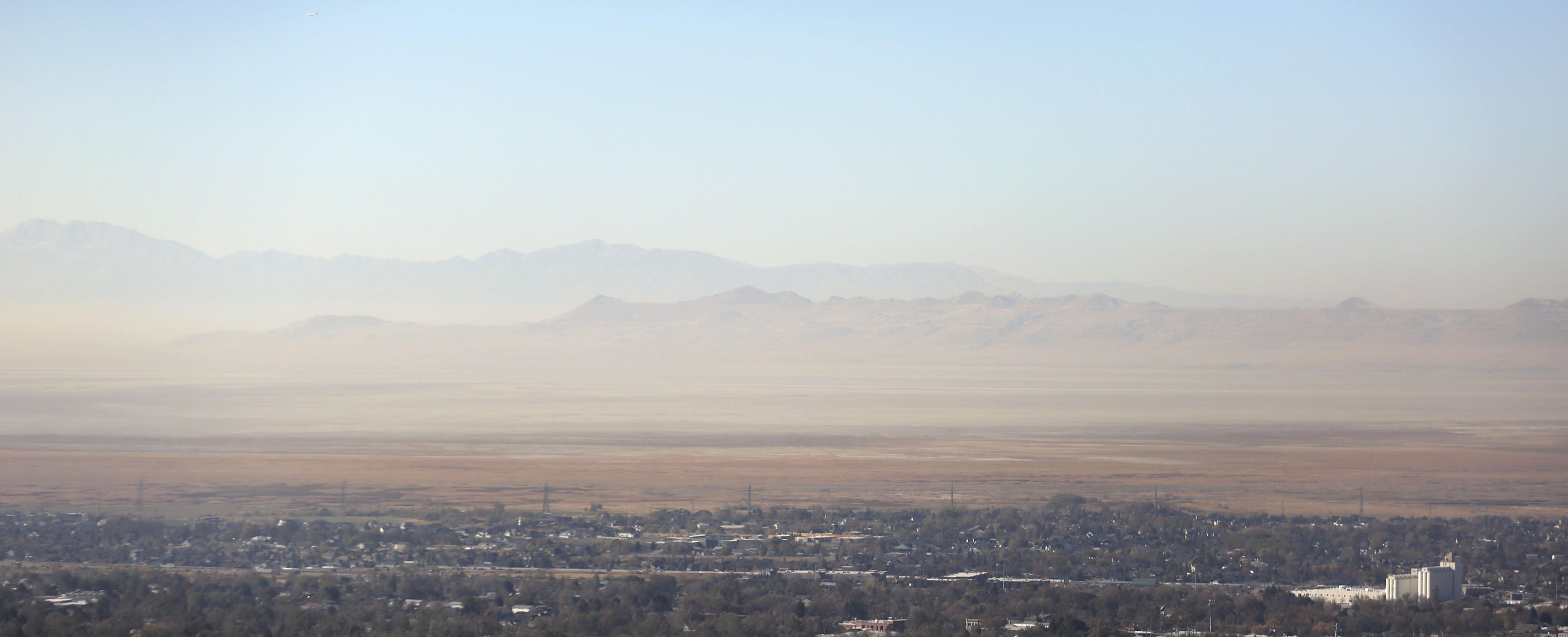 Smog settles over Davis County on Wednesday, Oct. 28, 2020.