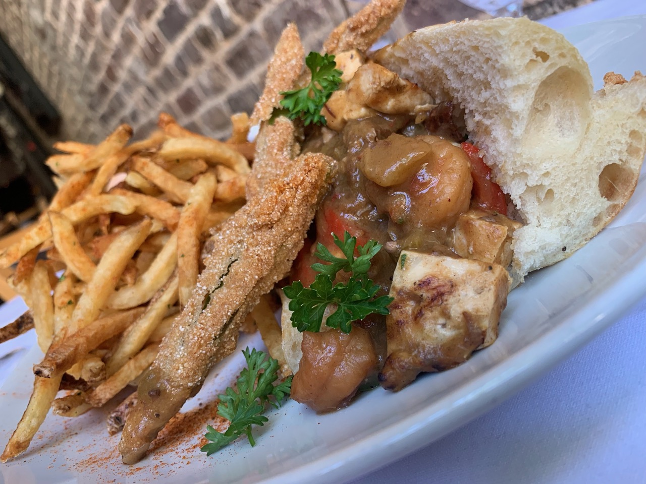A po' boy sandwich from chef Sandra Batiste, future owner of Bayou Scratch Kitchen at the Gramercy.