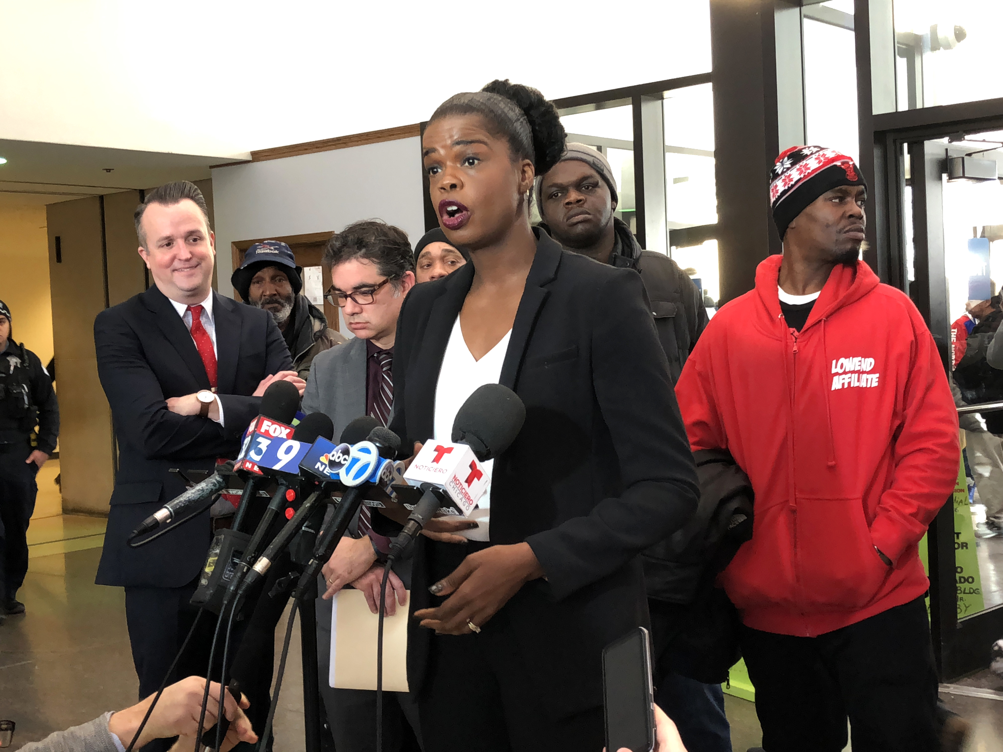 Cook County State's Attorney Kim Foxx talks to reporters Tuesday, Feb. 11, 2020, after an exoneration hearing in cases connected to corrupt former Chicago Police Sgt. Ronald Watts.