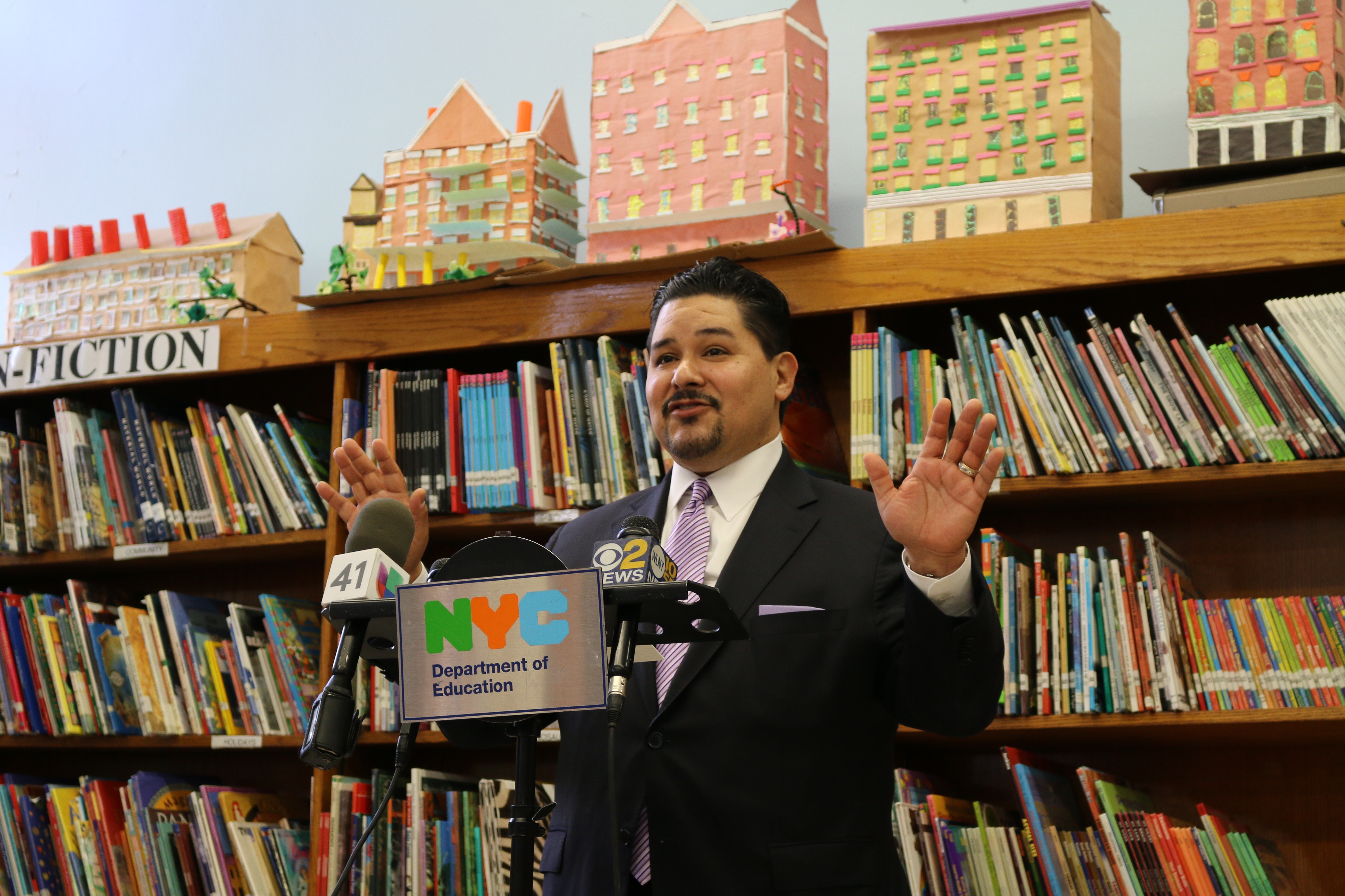 Schools Chancellor Richard Carranza at an unrelated press conference last year