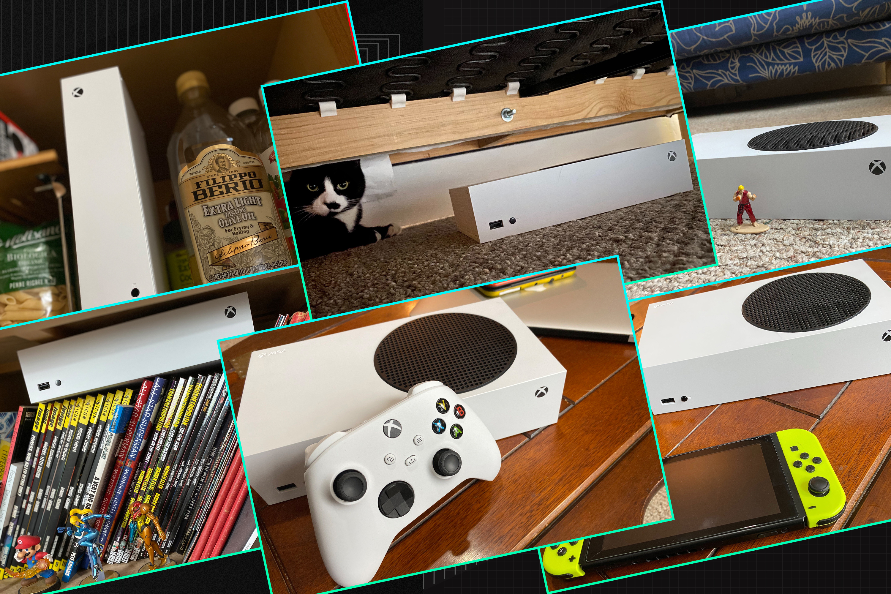 Graphic featuring six different photos of the Xbox-S with various household objects for size comparisons