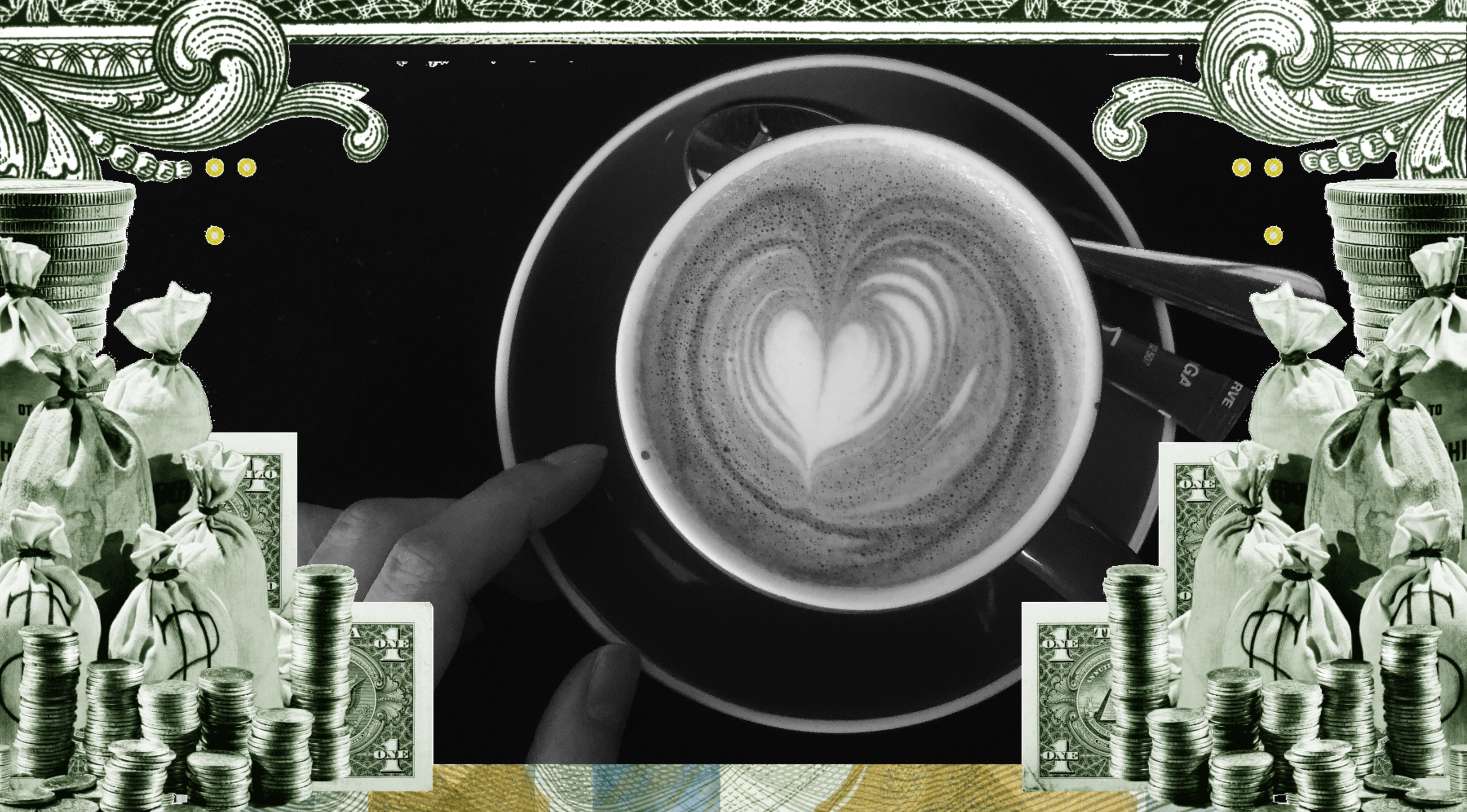 A coffee cup surrounded by dollar bills.