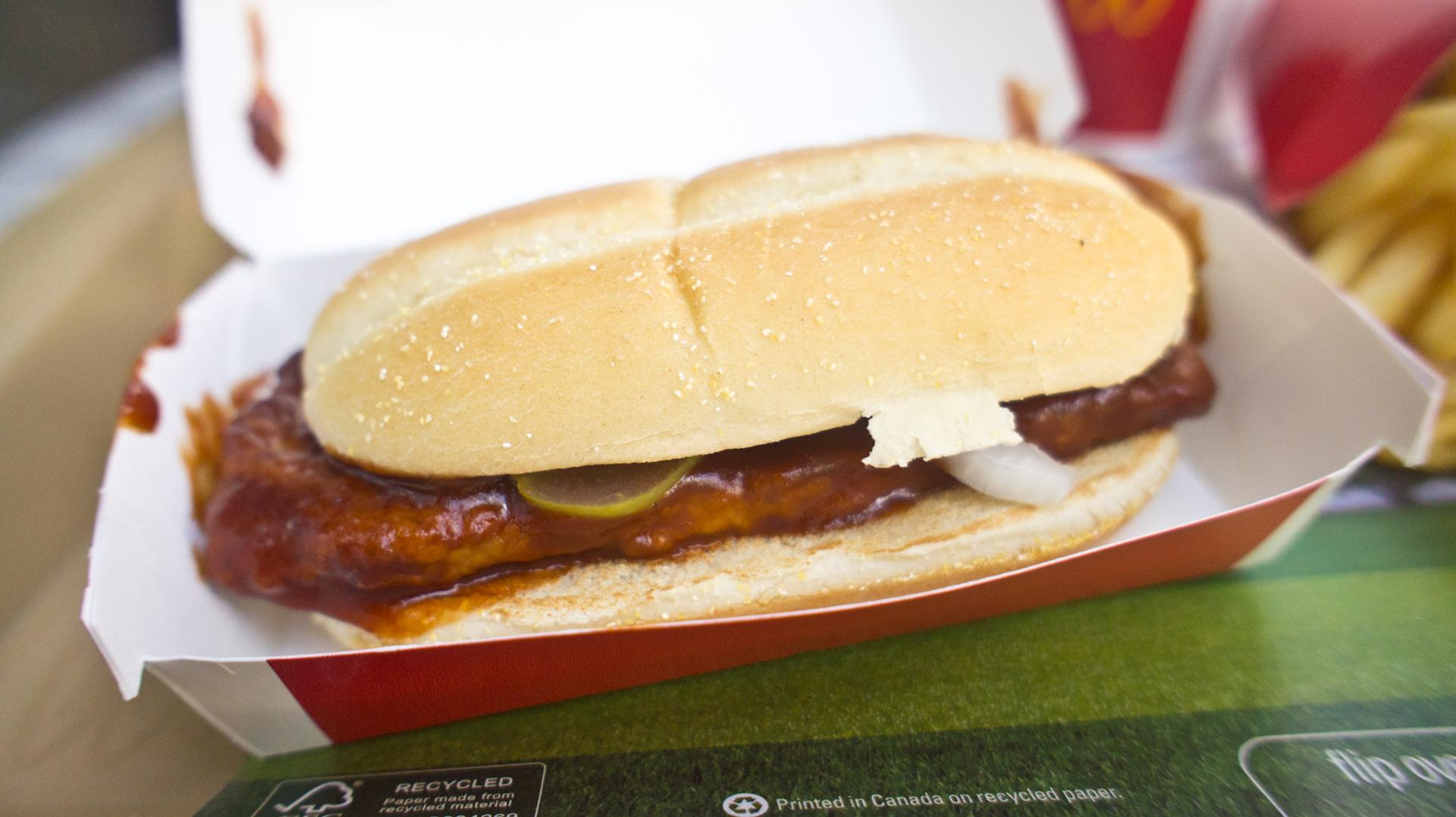 McRib sandwich in a cardboard box