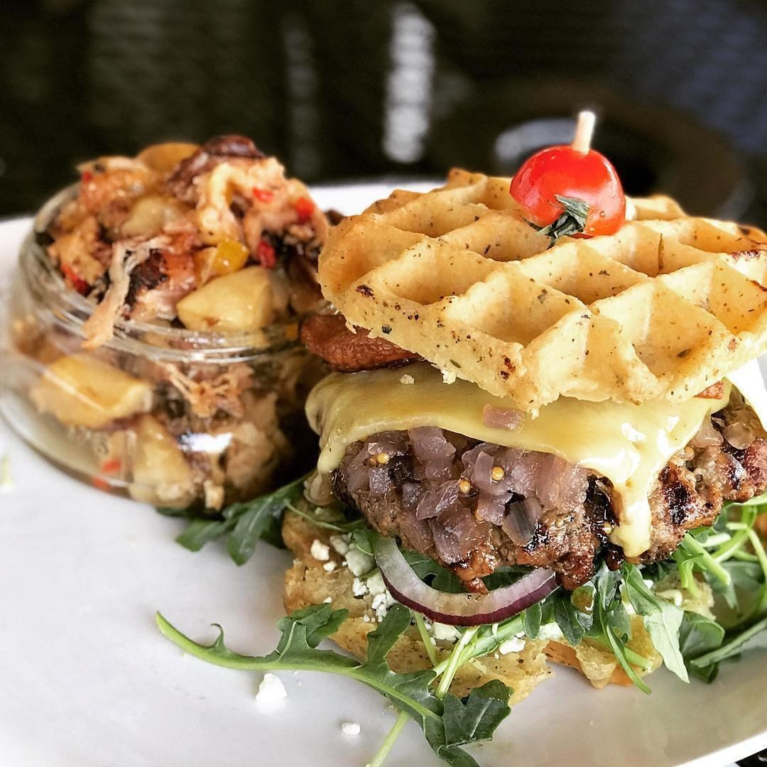 We Found the Beef burger with smoked bacon and cheddar cheese on an herb waffle