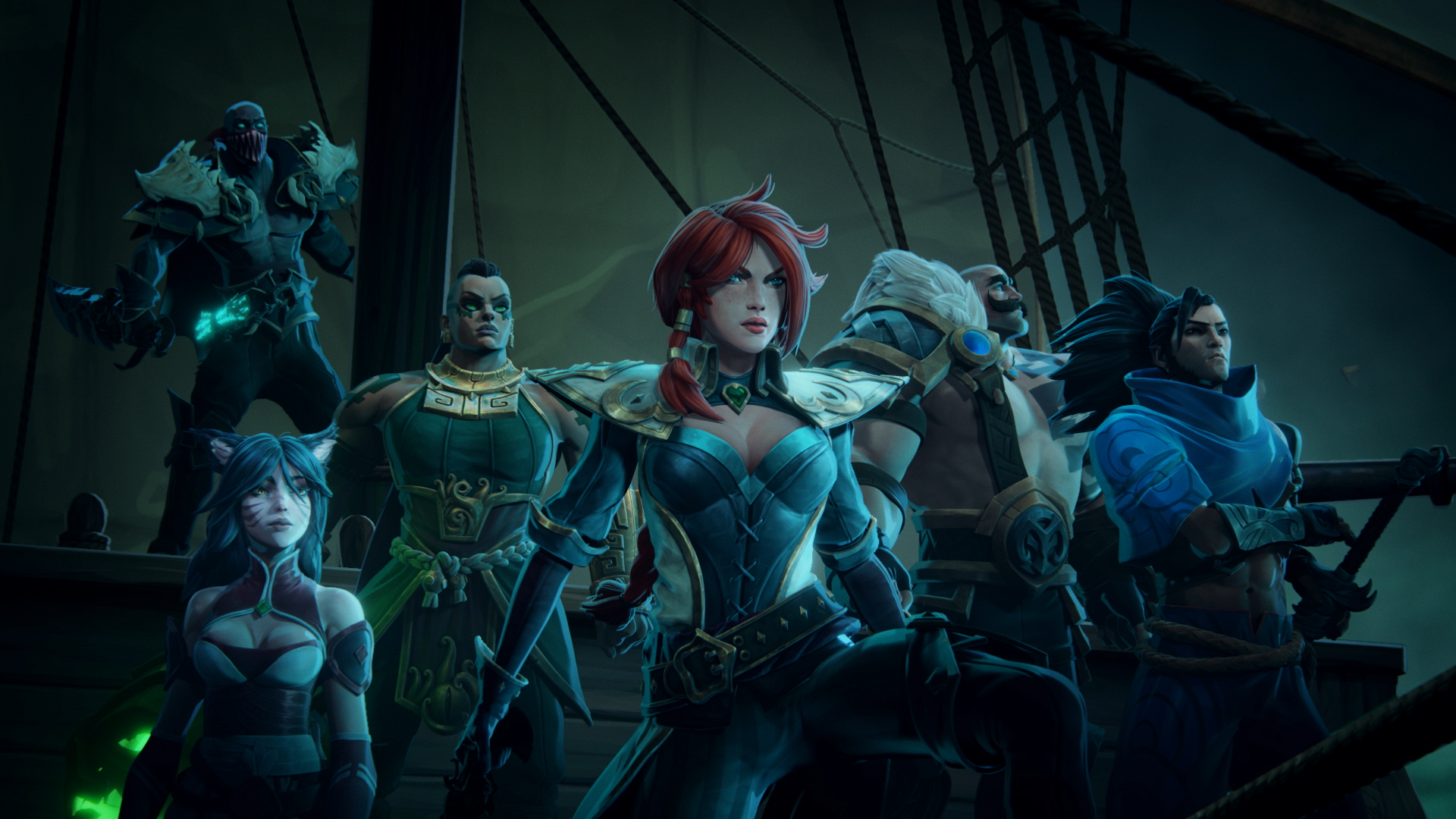 Several League of Legends champions stand on a boat in an eerie area