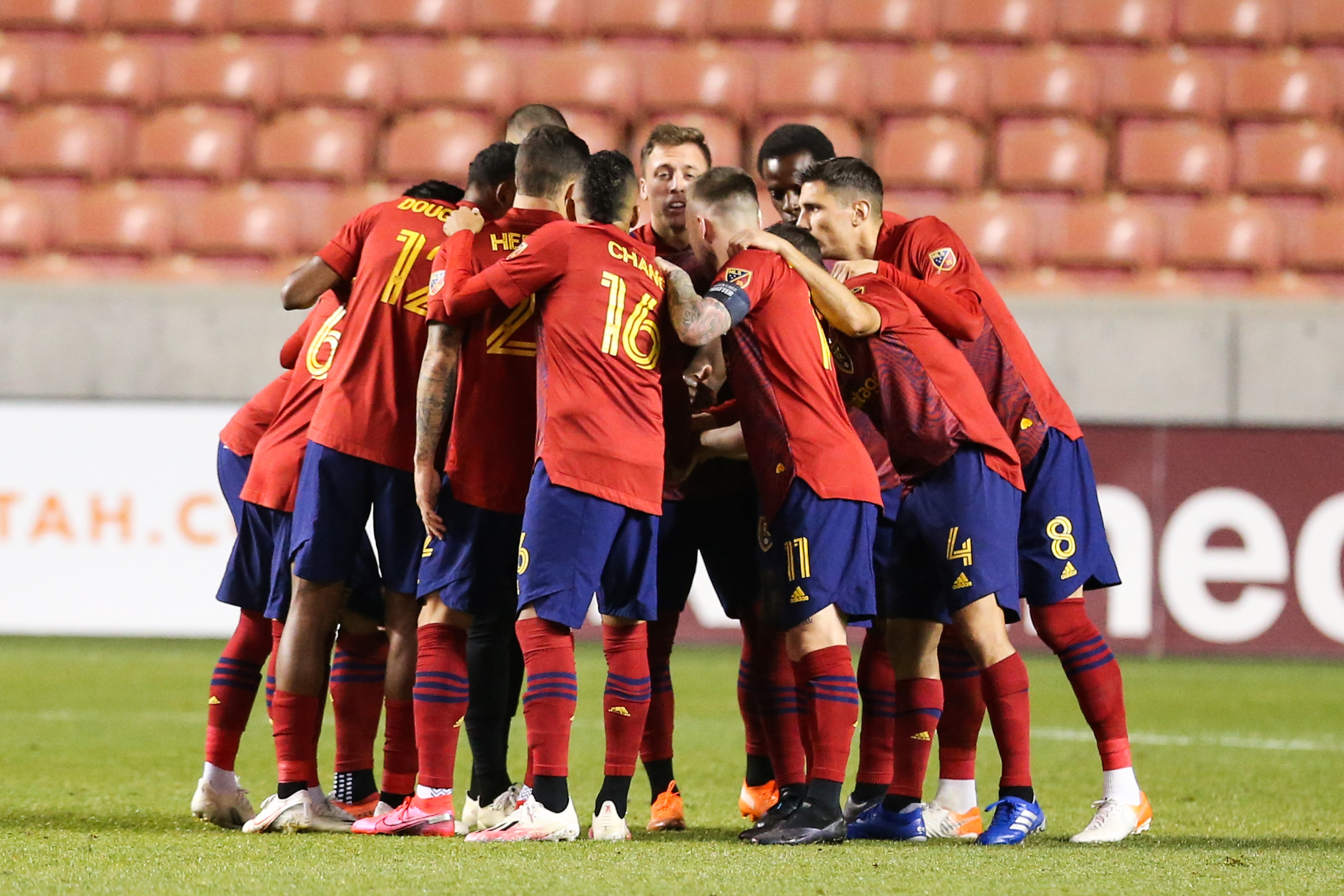 Real Salt Lake players hurdles before an MLS soccer game against FC Dallas at Rio Tinto Stadium in Sandy on Saturday, Oct. 24, 2020.