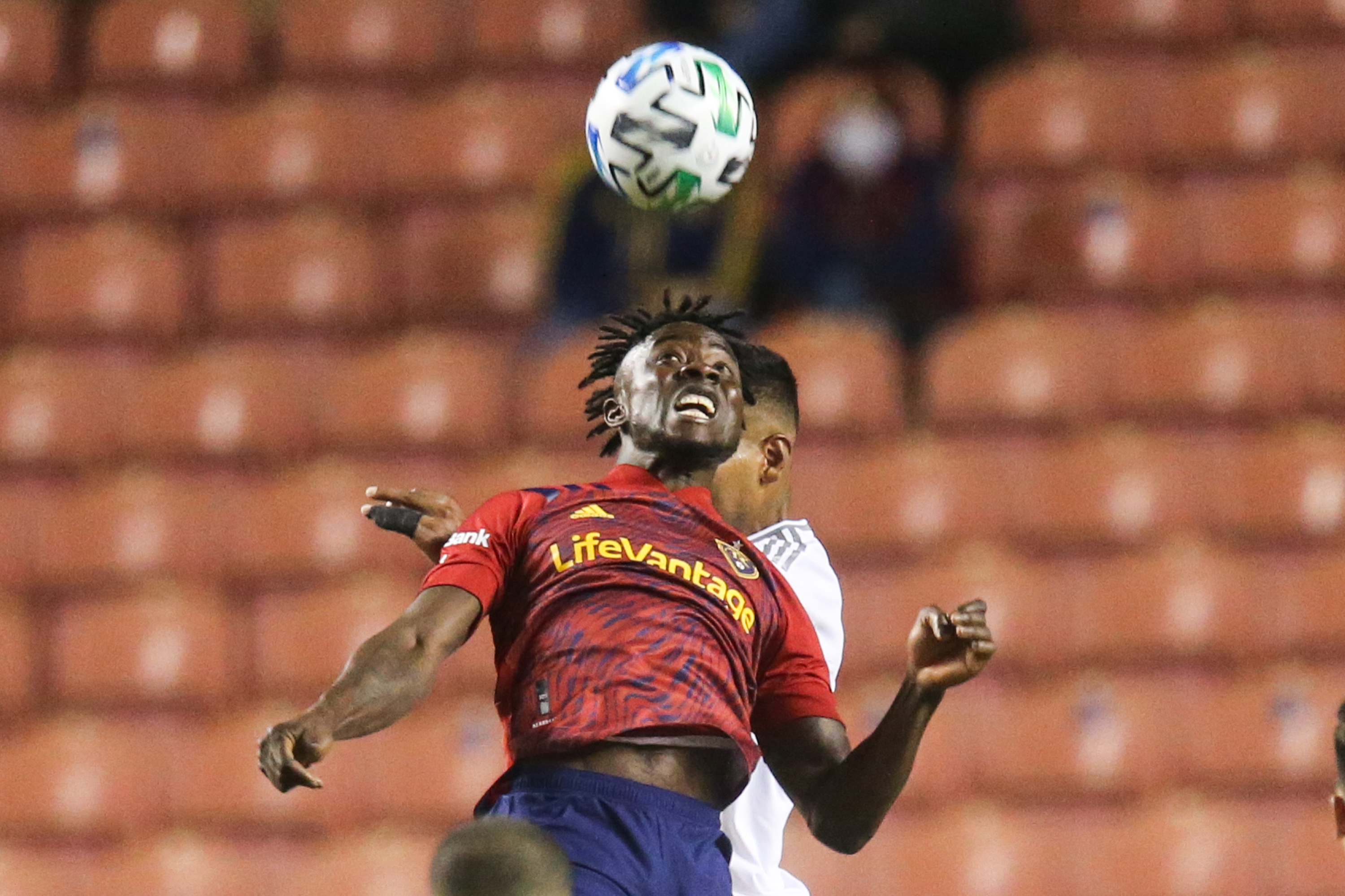 Real Salt Lake forward Sam Johnson (50) jumps for a header during a MLS soccer game at Rio Tinto Stadium in Sandy on Sunday, Oct. 4, 2020.
