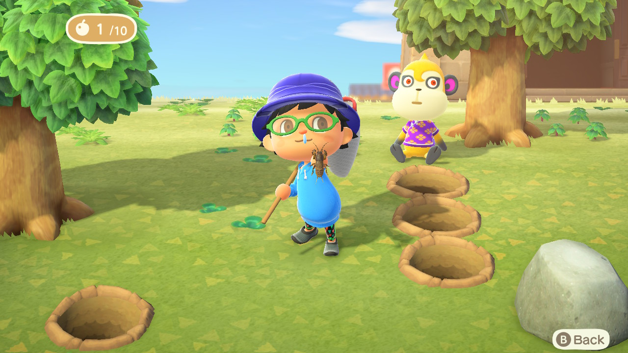 A villager holds up a mole cricket in Animal Crossing: New Horizons