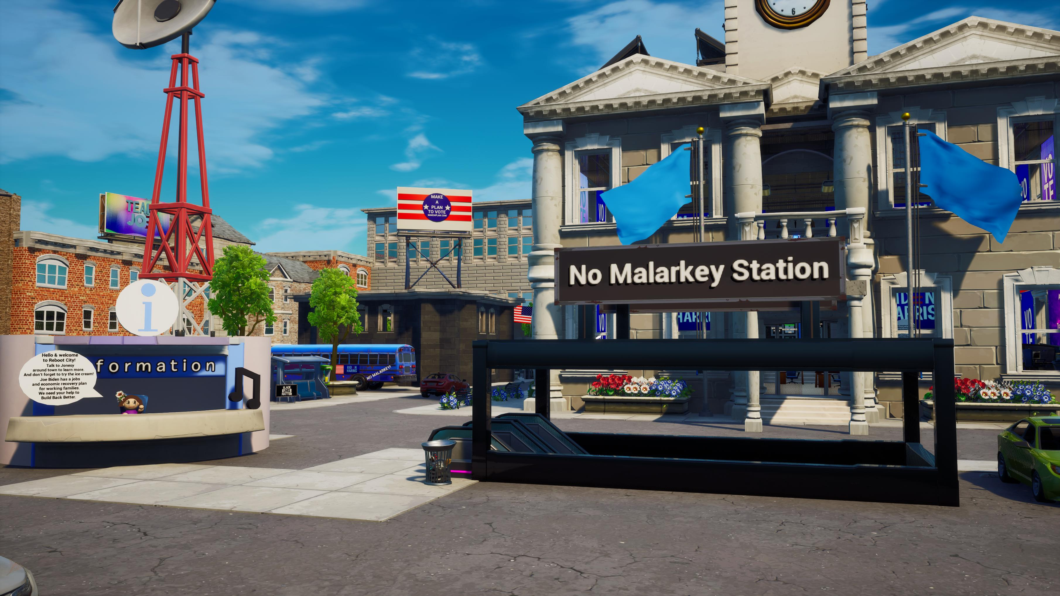 """A city hall with Joe Biden flags and """"No Malarkey Station"""" made in Fortnite"""