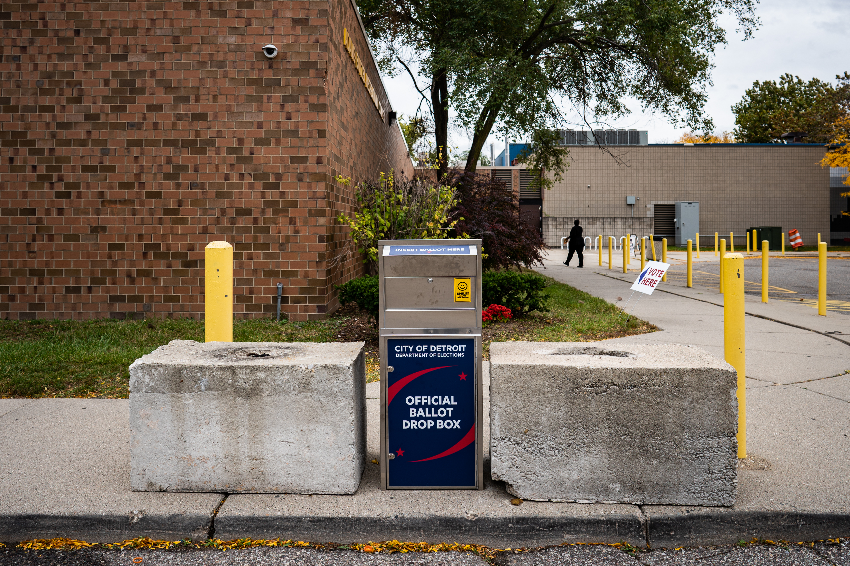 DETROIT, MI - OCTOBER 15: Absentee ballots drop-off box is seen outside one of the Satellite Voting Center at Adams-Butzel Recreational Complex during early U.S. Presidential Election voting in Detroit, Michigan on Thursday, October 15, 2020.