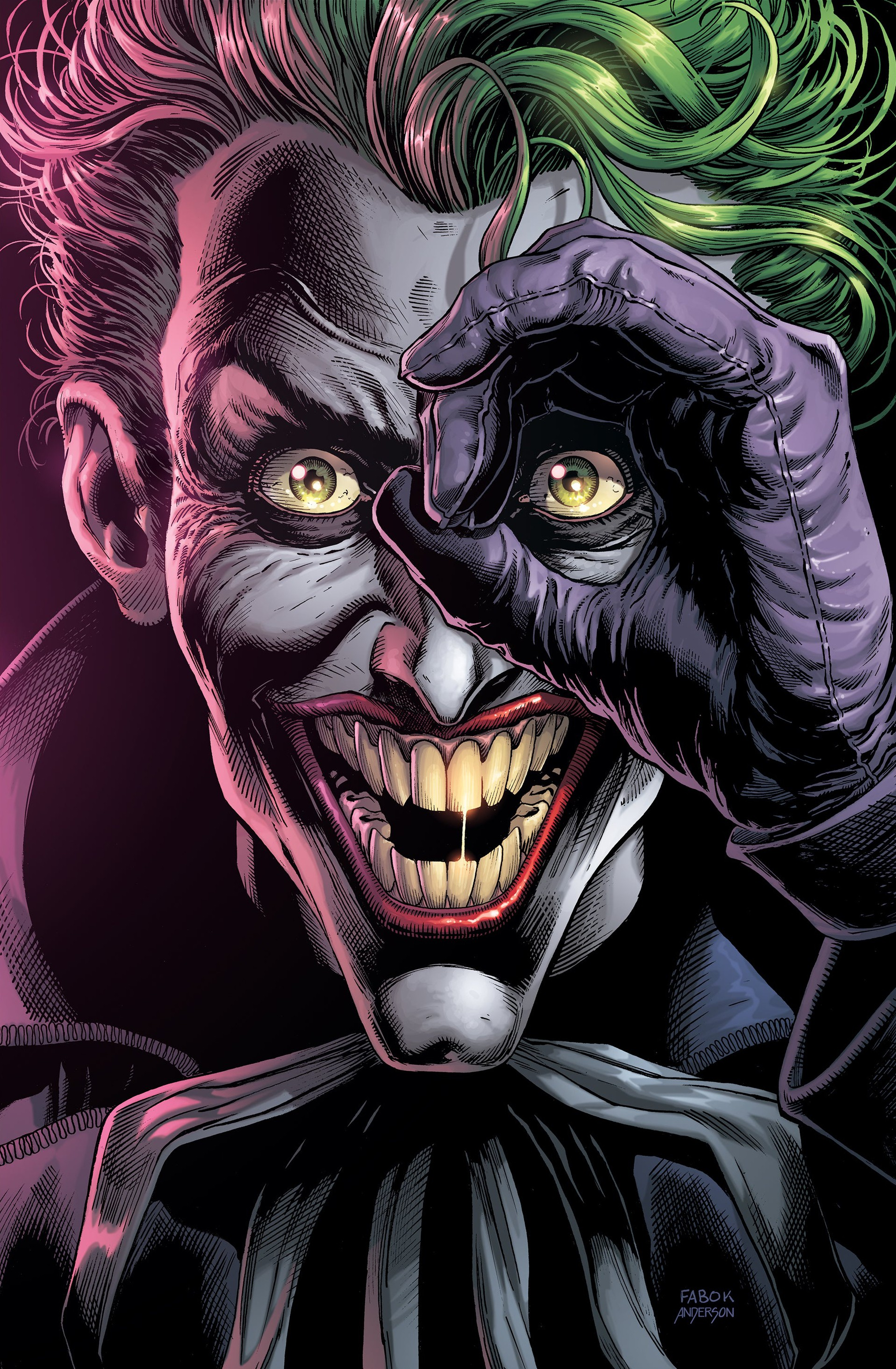 The Joker grins at the viewer, one hand raised in a circle over his eye, on the cover of Batman: Three Jokers #3, DC Comics (2020).