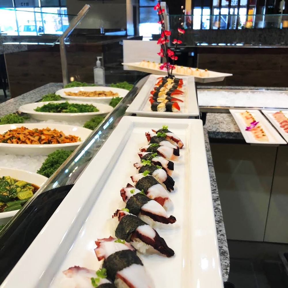 A selection of the sushi and sashimi choices on the all-you-can-eat menu at the Imperial Sushi Seafood Buffet.