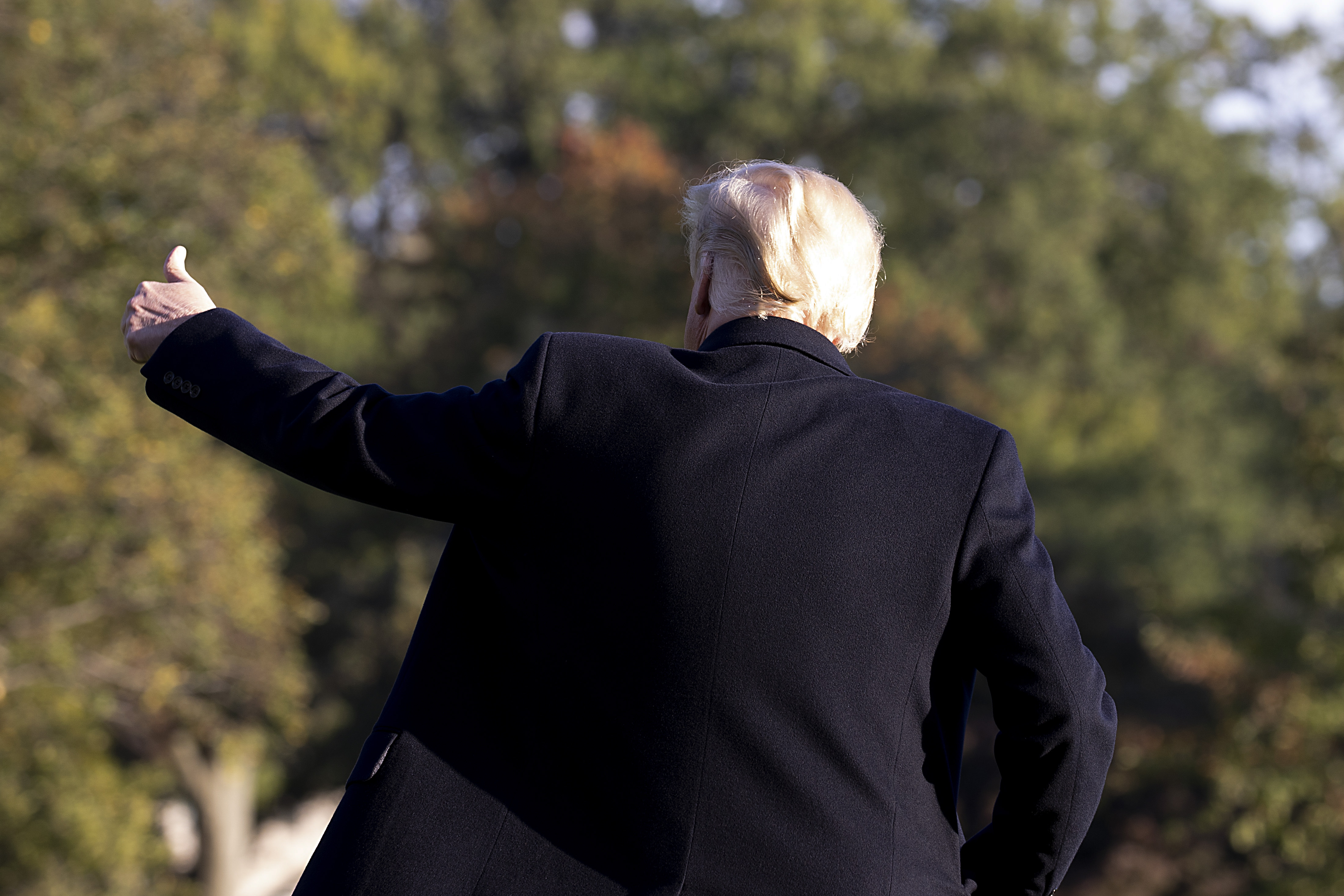 President Donald Trump, seen from the back, gives a thumbs-up gesture.