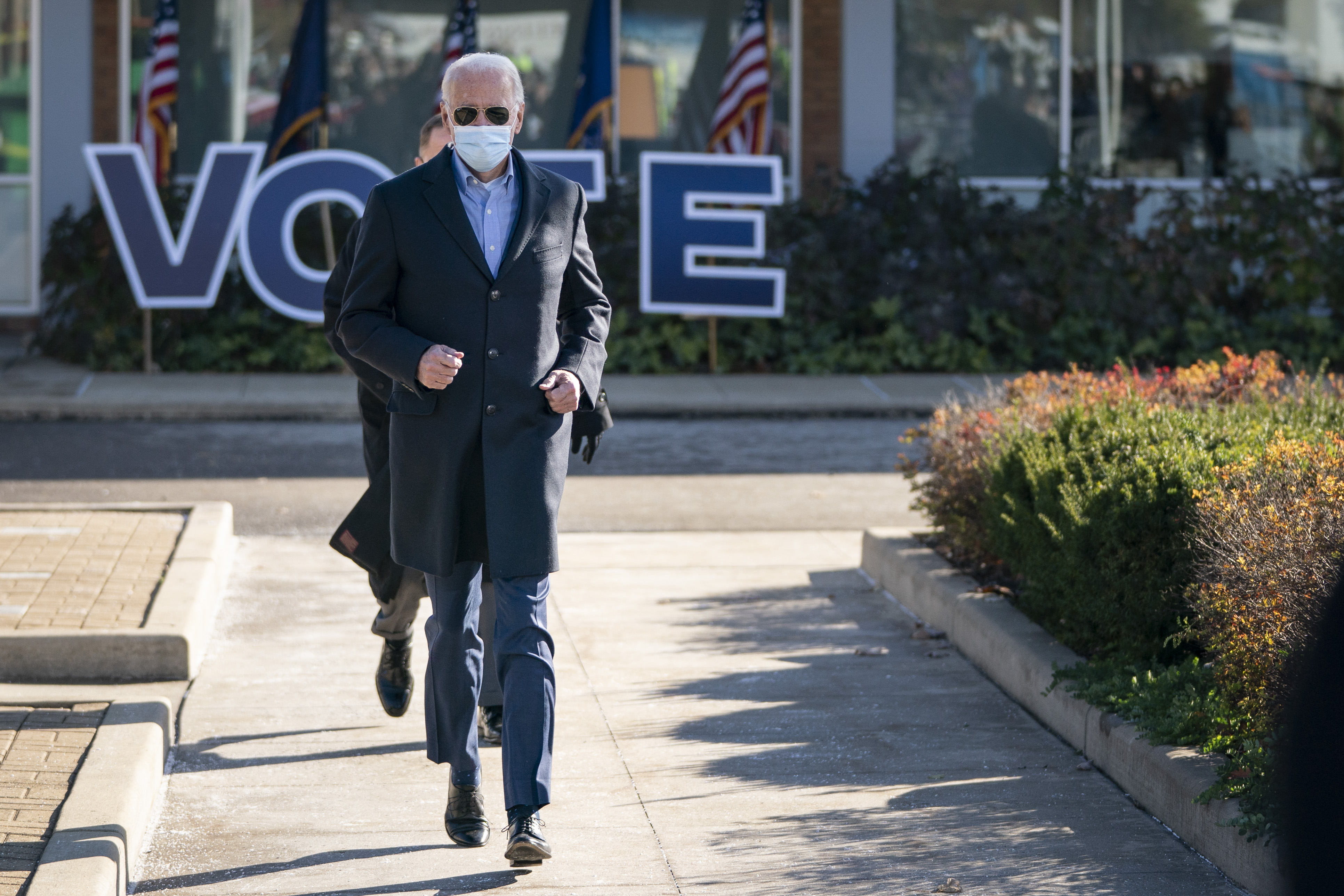 Democratic presidential nominee Joe Biden arrives to speak at a campaign stop at Community College of Beaver County on November 02, 2020 in Monaca, Pennsylvania.