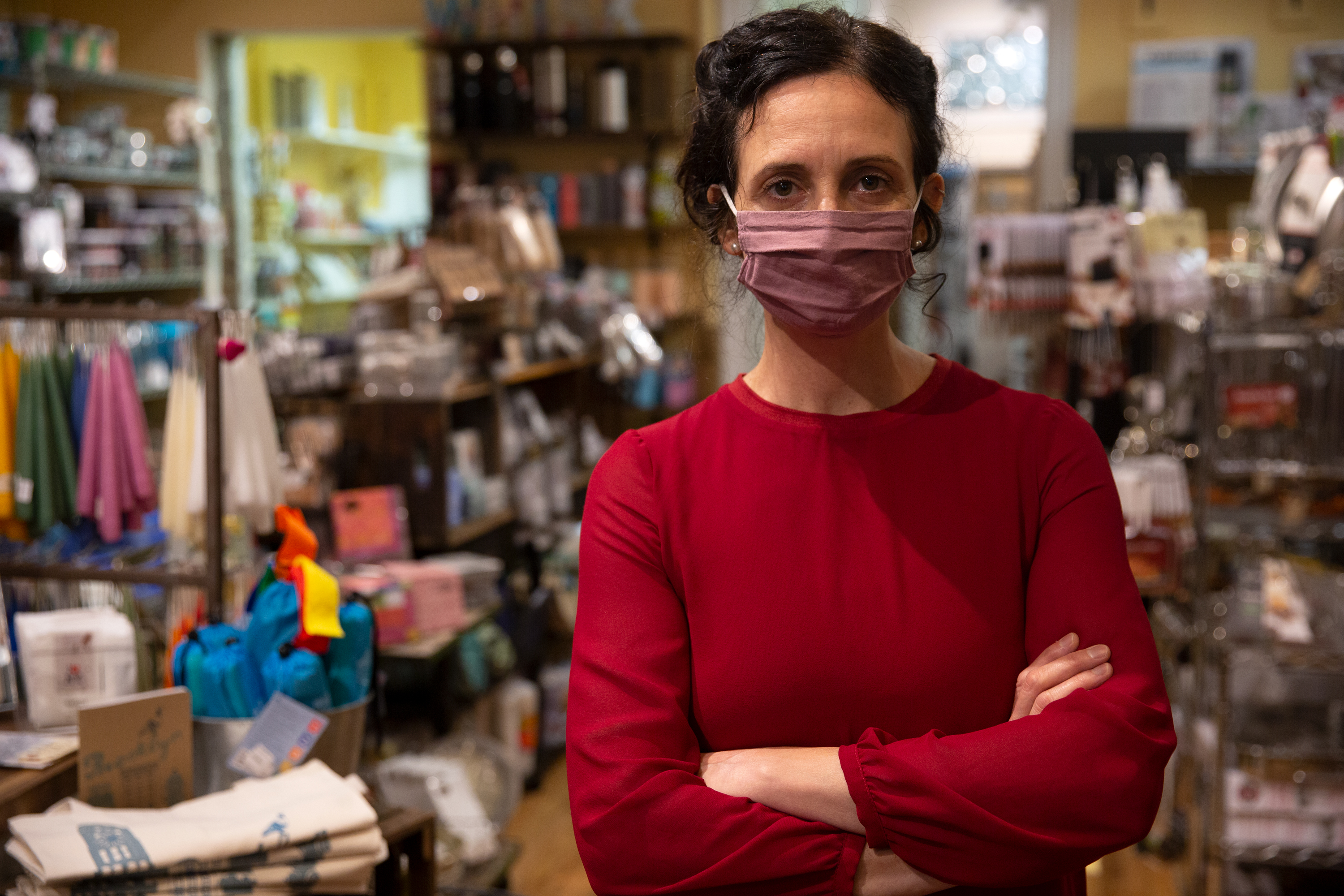 Whisk owner Natasha Amott works in her home good store on Atlantic Avenue in Brooklyn, Oct. 29, 2020.