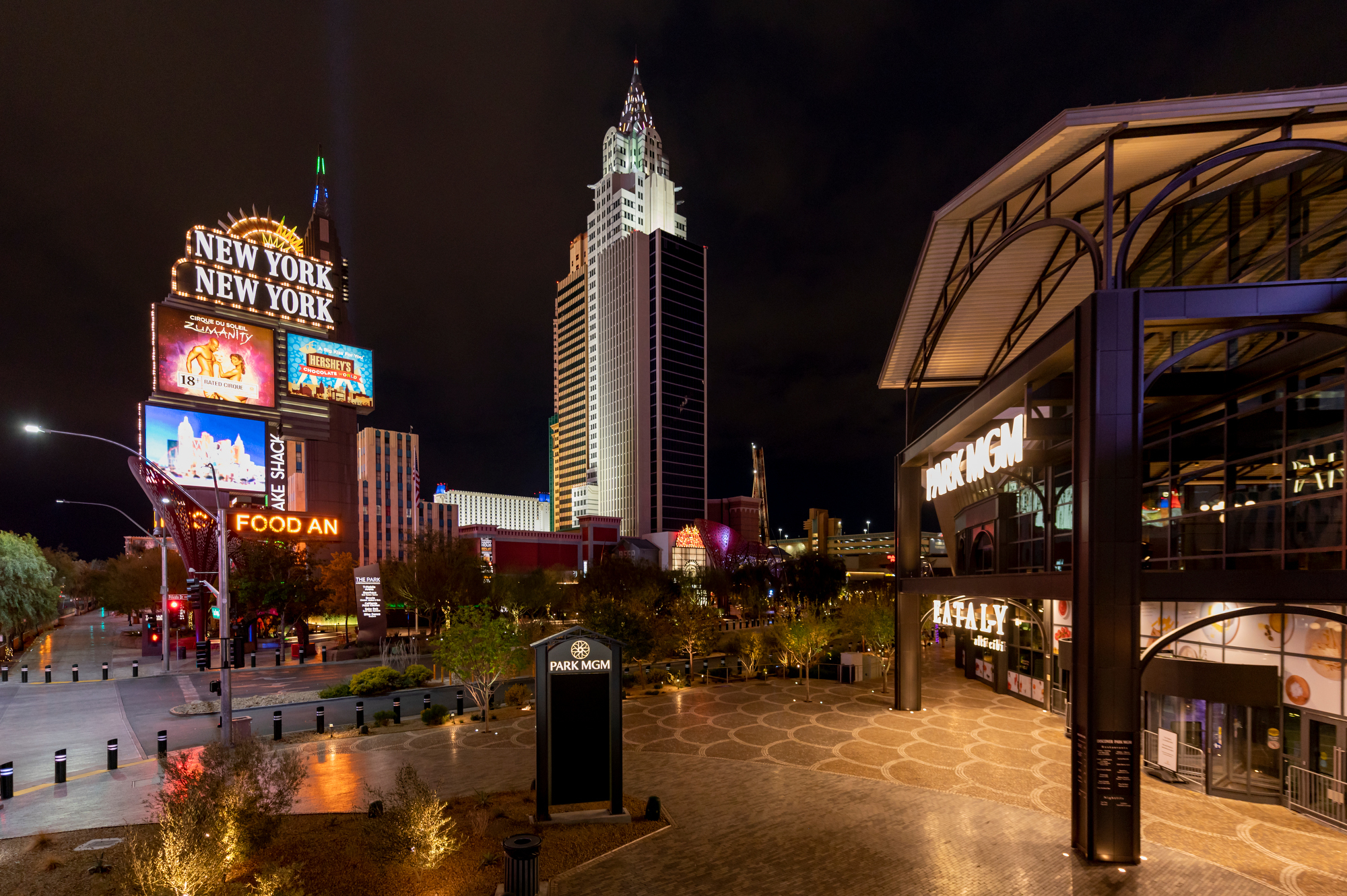 A night view of two casinos