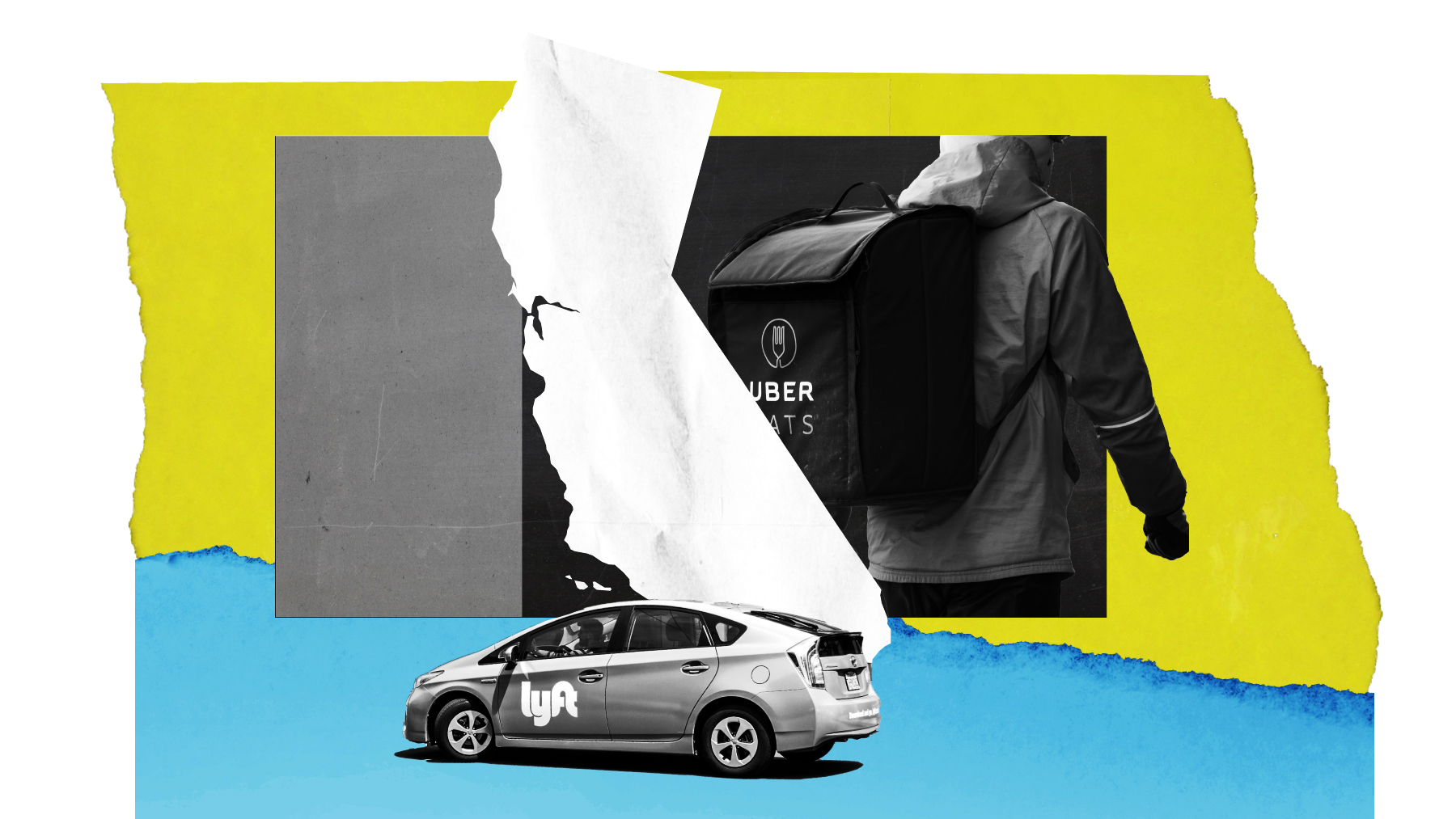 A composite illustration including a Lyft car, the outline of the state of California, and a person wearing an Uber Eats delivery backpack.
