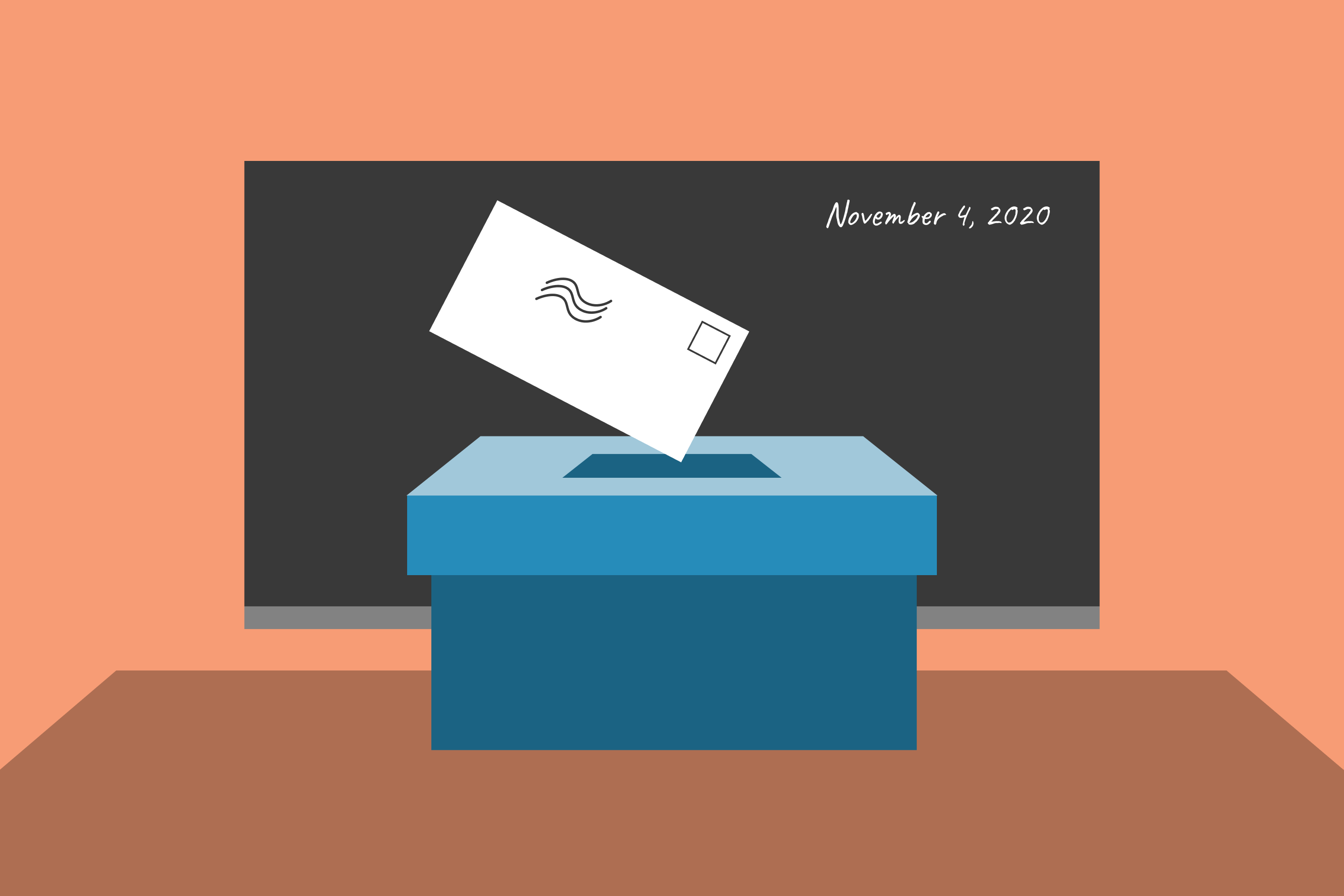 Illustration of a ballot being placed into a ballot box in front of a blackboard that reads November 4, 2020.