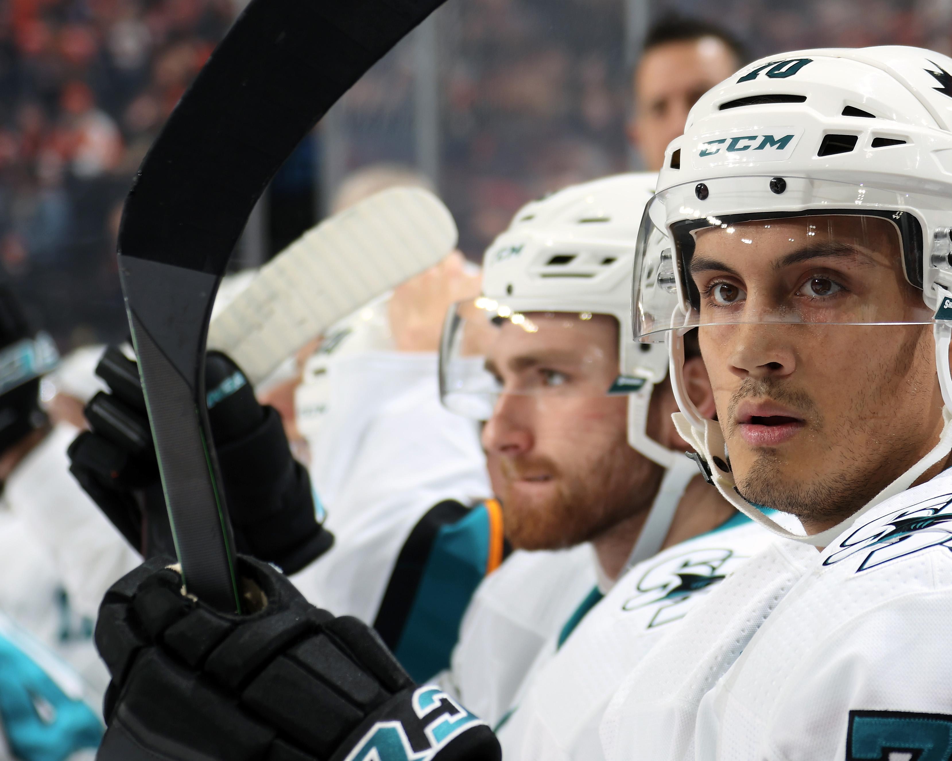 Alexander True #70 of the San Jose Sharks looks on from the bench against the Philadelphia Flyers on February 25, 2020 at the Wells Fargo Center in Philadelphia, Pennsylvania.