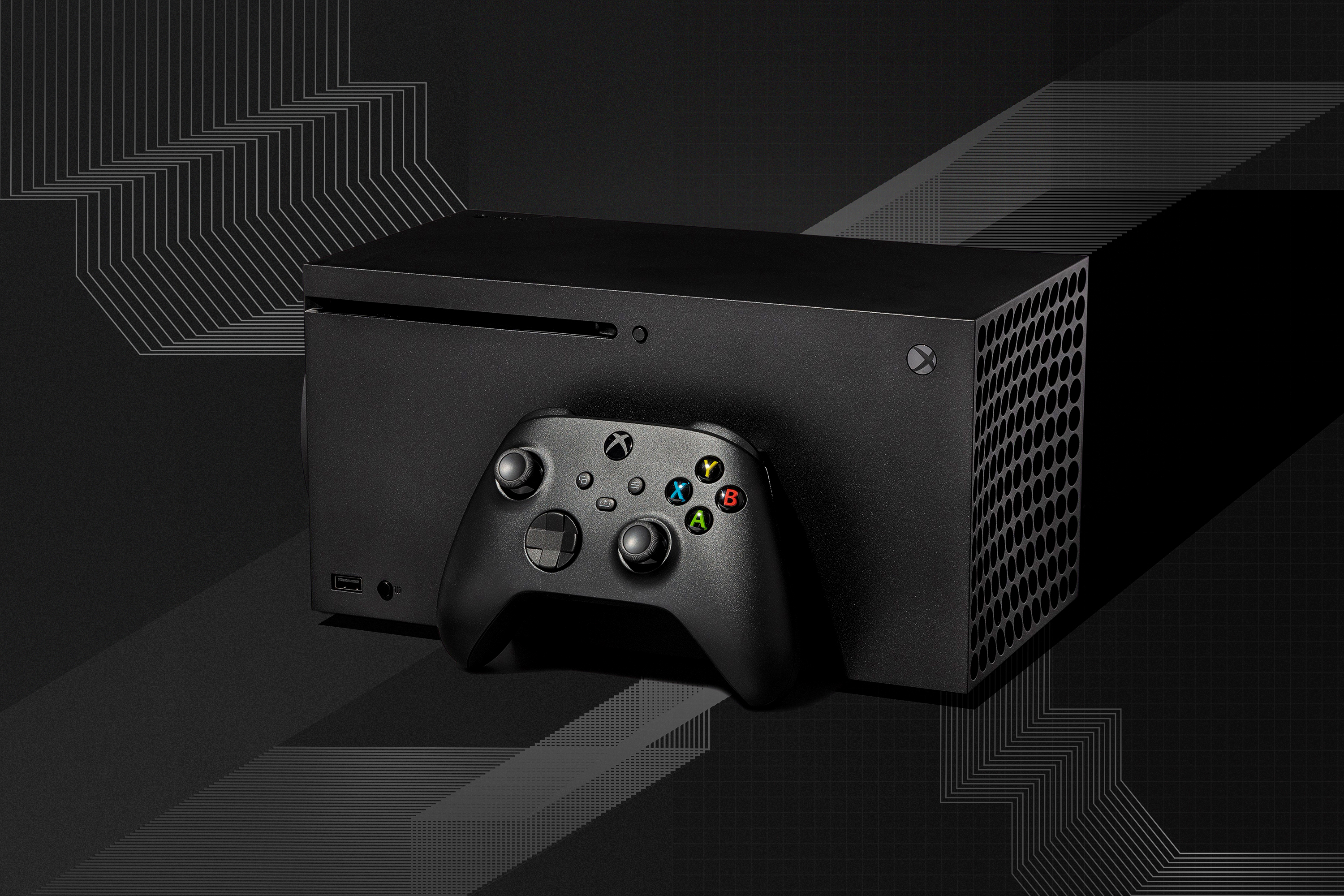 Xbox Series X console and controller on a graphic linear background