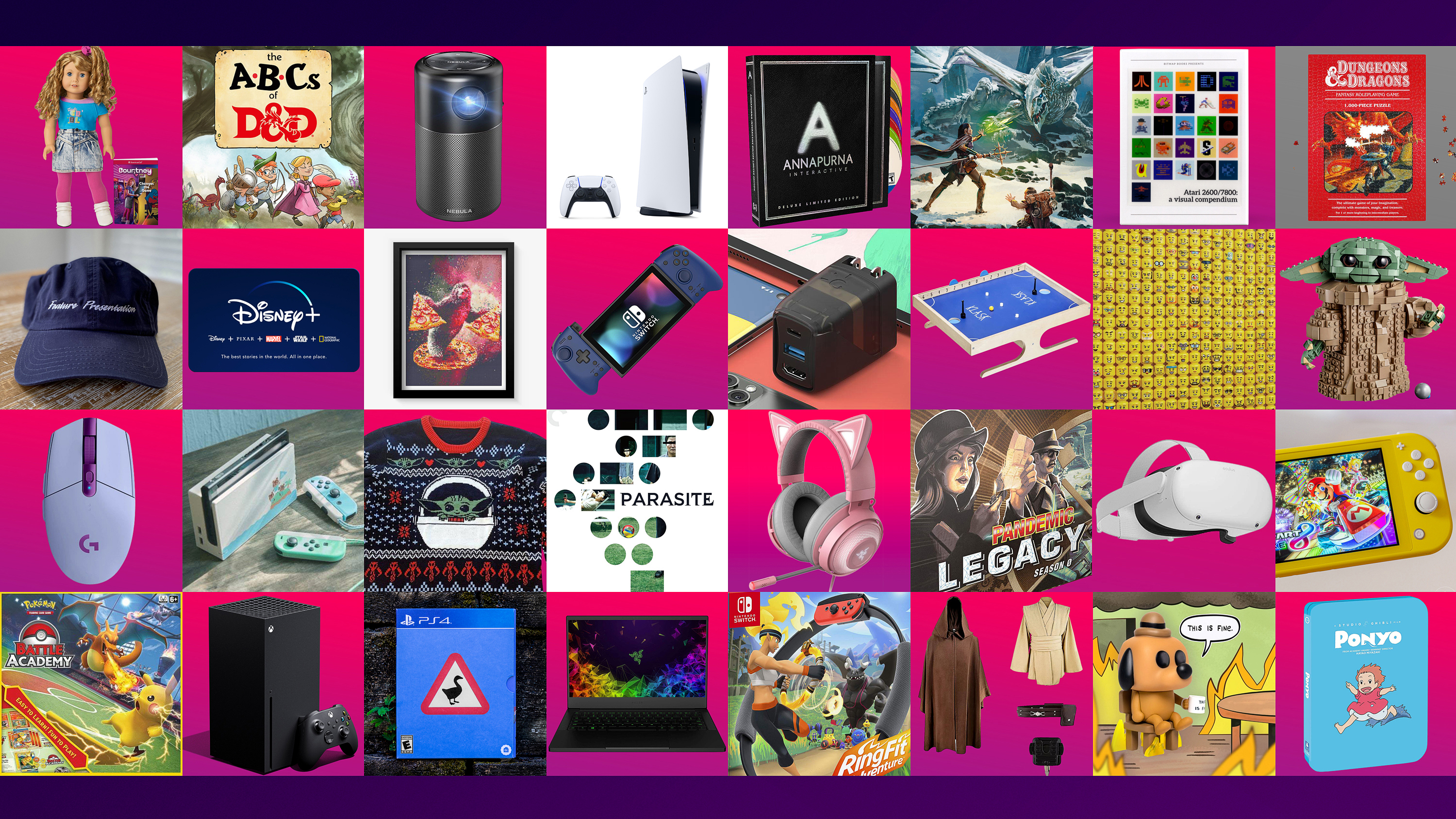 A composite image of products featured in Polygon's holiday gift guide