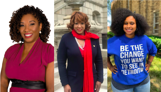 Sonya Mays (left), Sherry Gay-Dagnogo (center), and Misha Stallworth (right), each won a seat on the Detroit district school board. Mays and Stallworth are incumbents, and Gay-Dagnogo is the challenger.