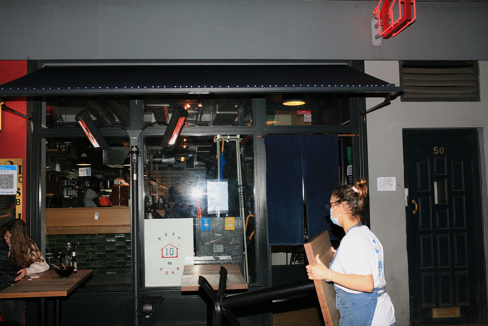 Koya on Frith street in soho prepares to close before England goes into lockdown to prevent the transmission of COVID-19