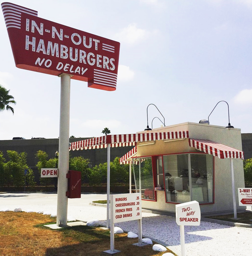The replica of the original 1948, In-N-Out Burger in Baldwin Park, California.