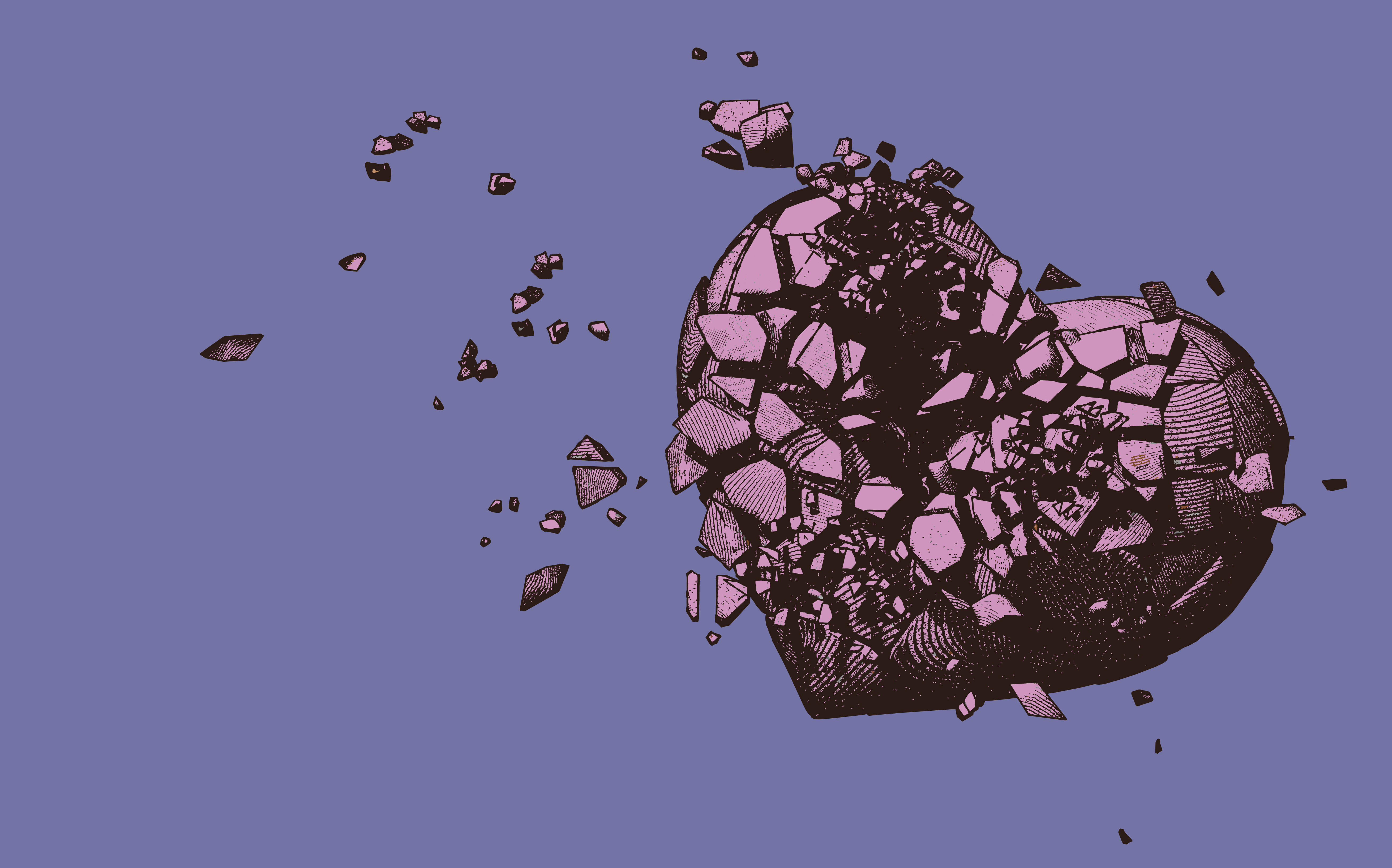 An illustration shows a shattered pink heart blowing away.