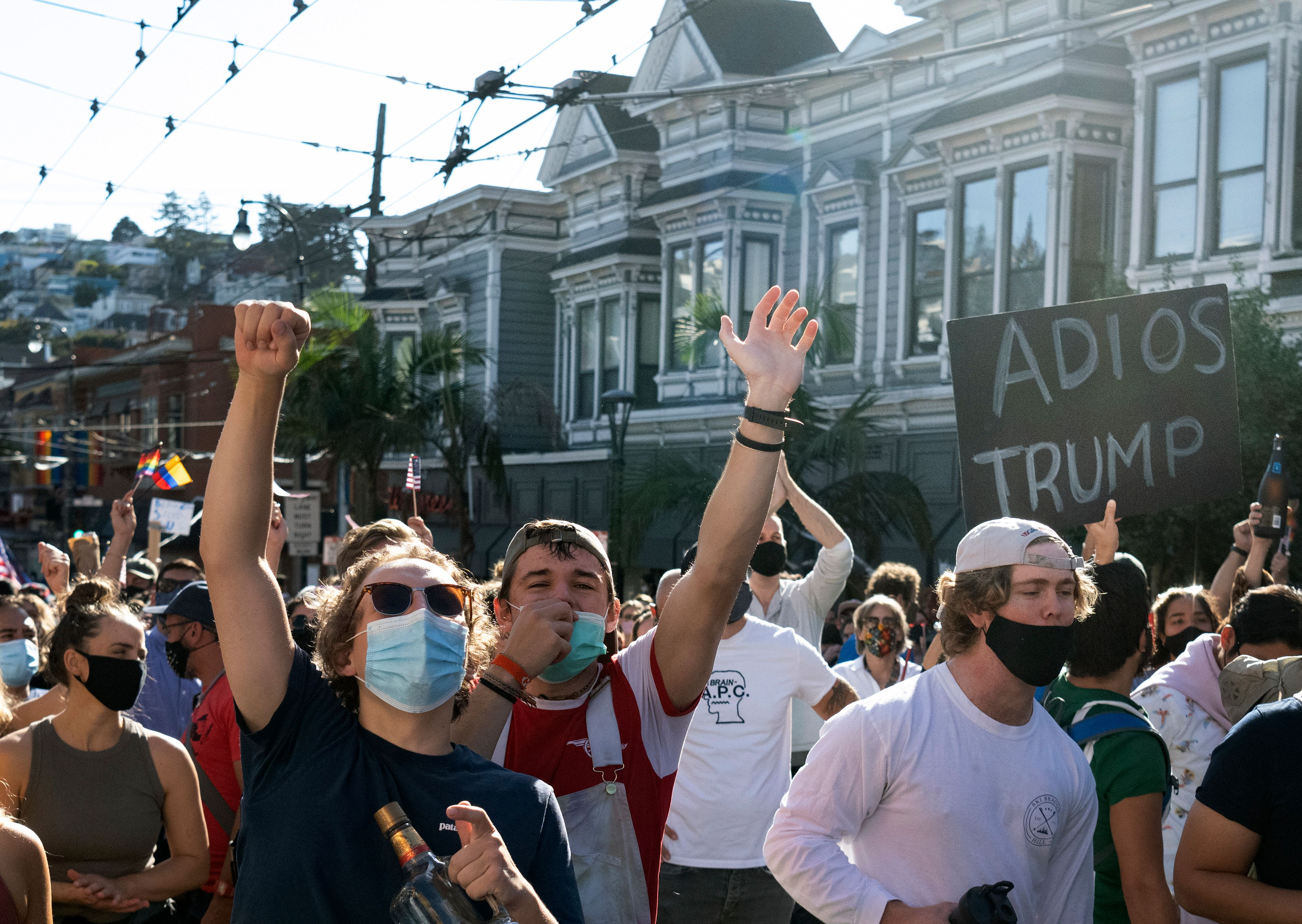Demonstrators celebrate Biden's victory in the Castro district of San Francisco just after the race was called on November 7.