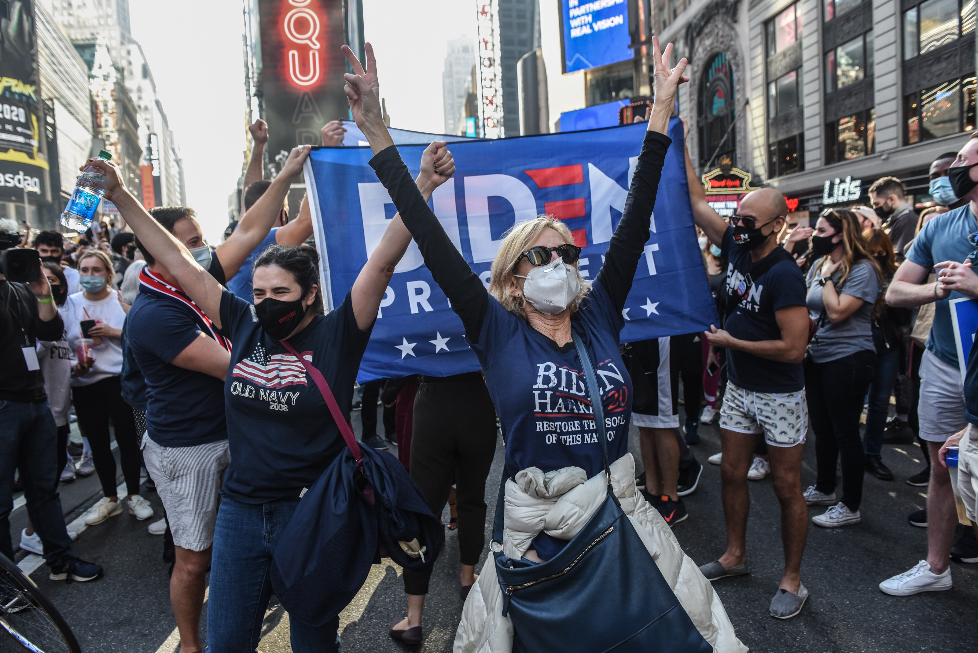 Supporters Of Joe Biden Celebrate Across The Country, After Major Networks Project Him Winning The Presidency