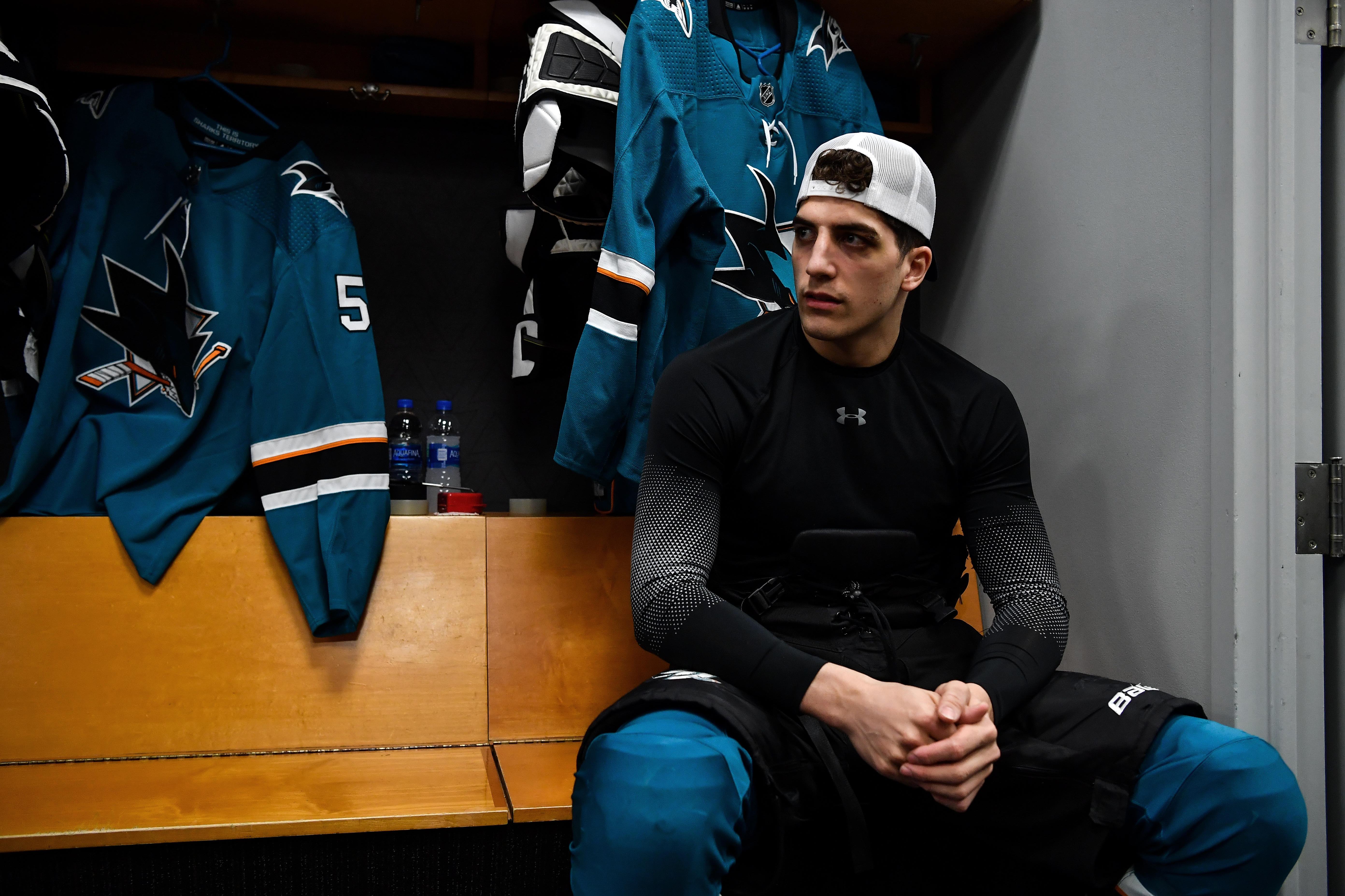 Mario Ferraro #38 of the San Jose Sharks prepares to take the ice for warmups against the Calgary Flames at SAP Center on February 10, 2020 in San Jose, California.