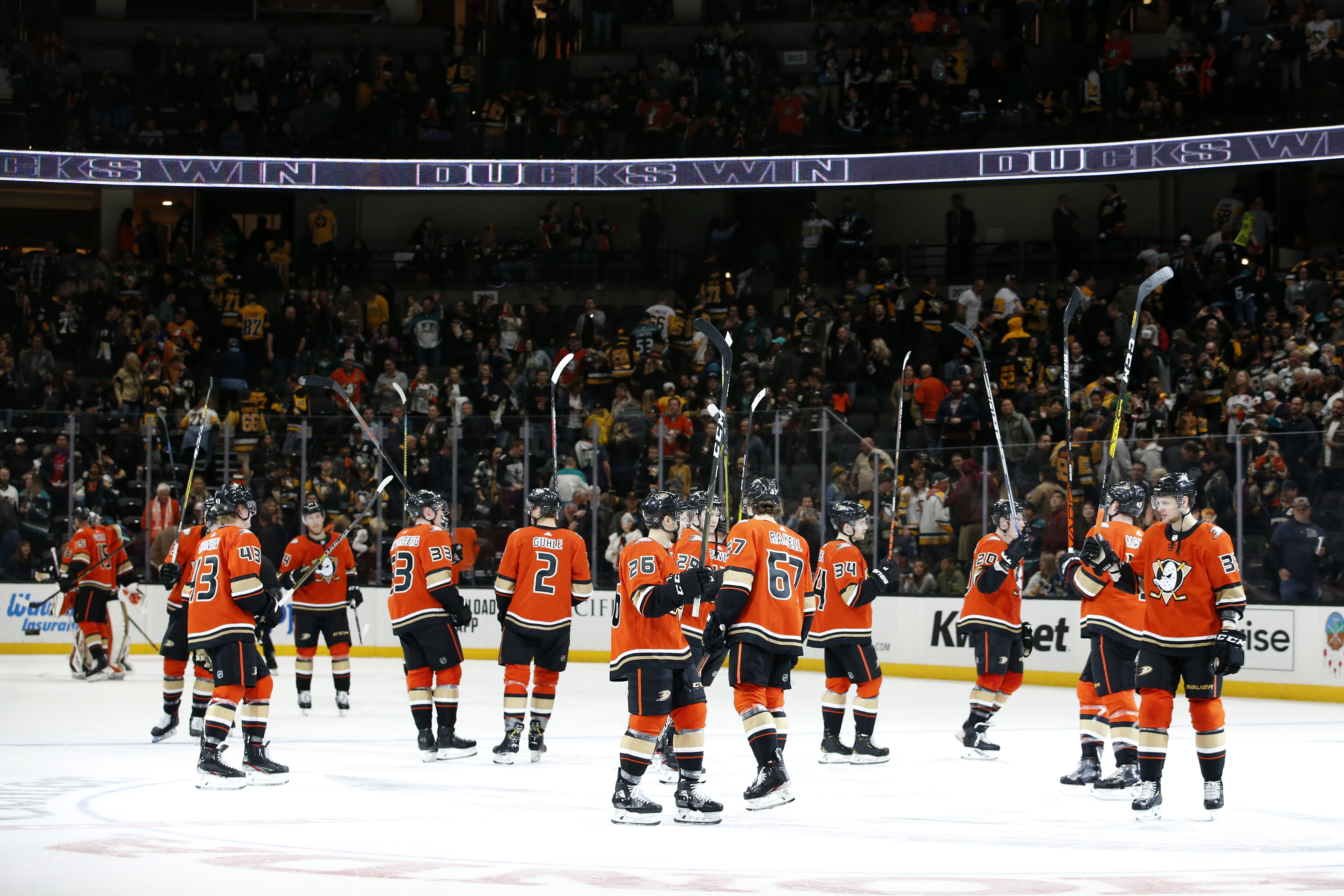The Anaheim Ducks wave to the crowd in celebration of their 3-2 win over the Pittsburgh Penguins at Honda Center on February 28, 2020 in Anaheim, California.