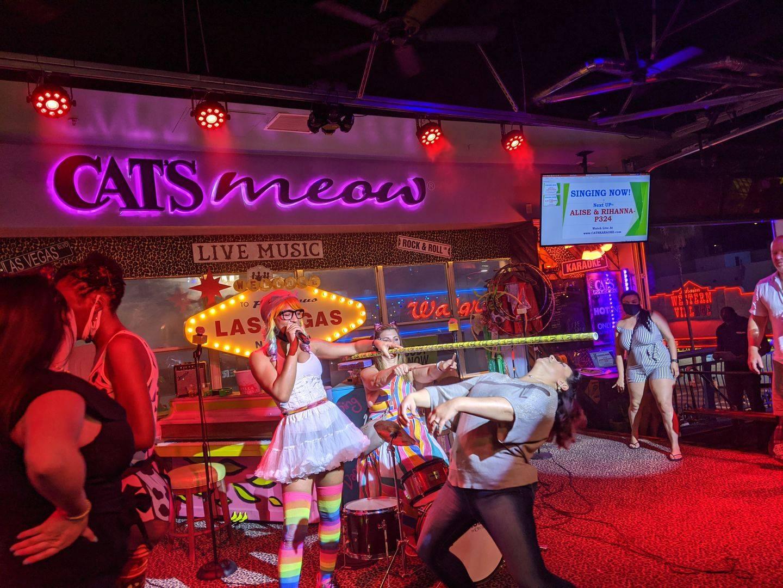 A scene from a karaoke bar
