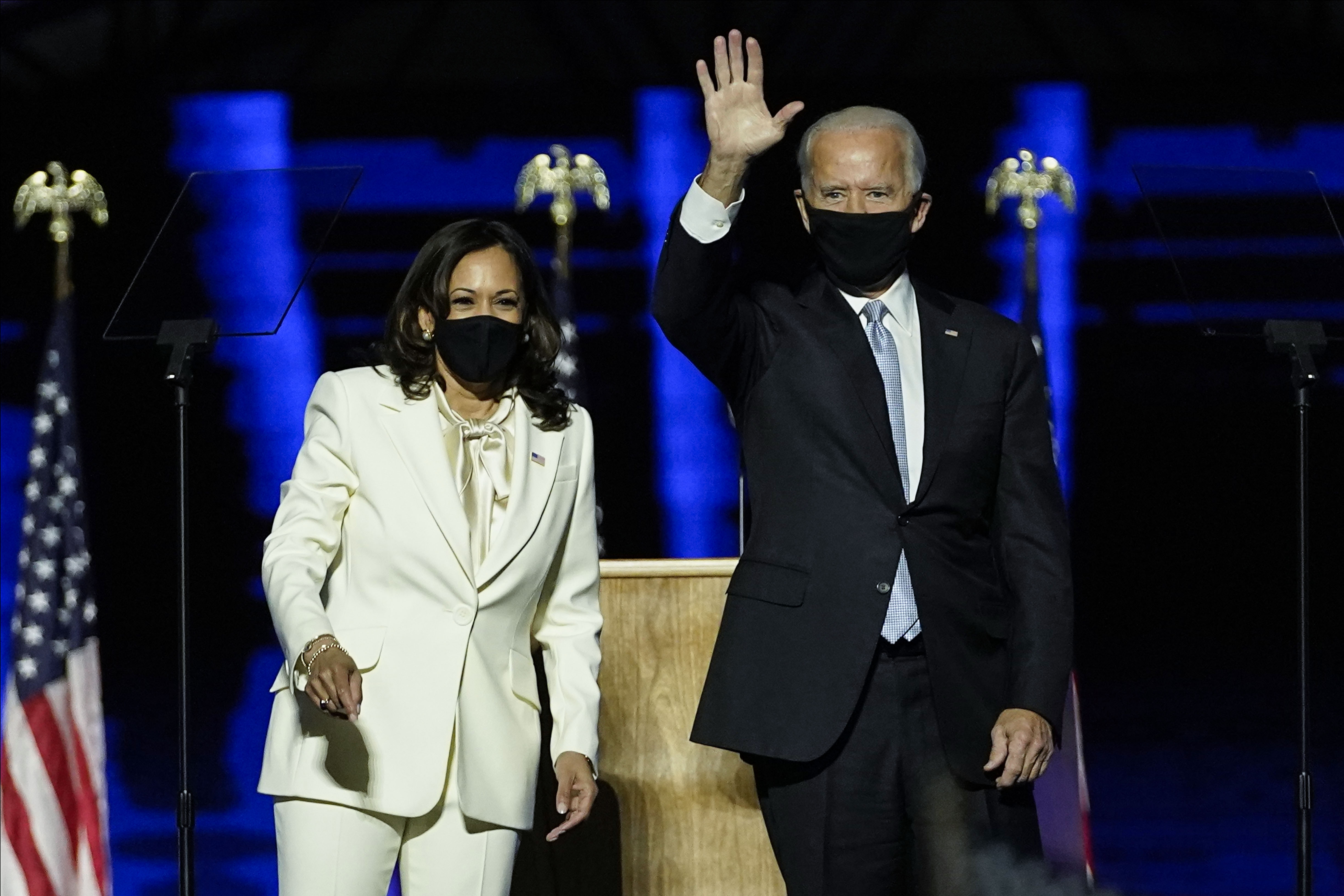 President-elect Joe Biden and Vice President-elect Kamala Harris take the stage at the Chase Center to address the nation November 7, 2020, in Wilmington, Delaware.