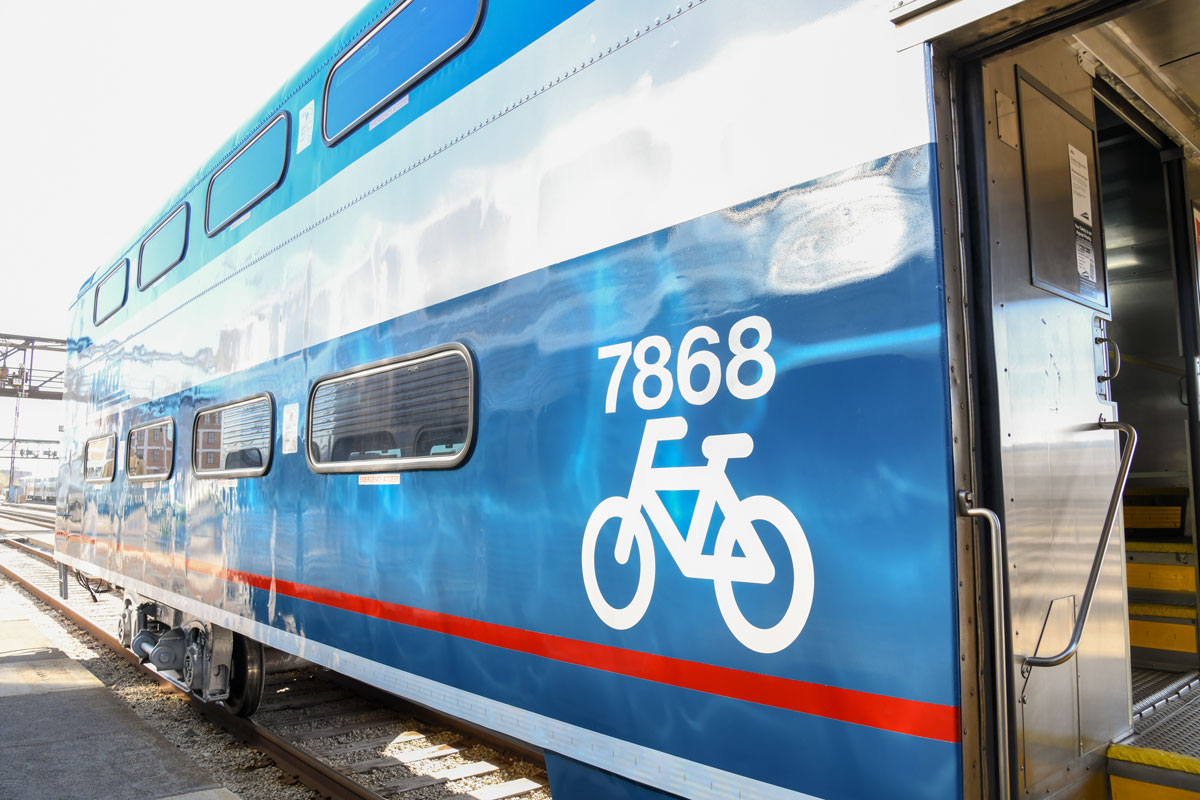 Metra's new Bike Car carries 16 bikes. It will run only on the Milwaukee District North Line for now, but may be added to other routes.