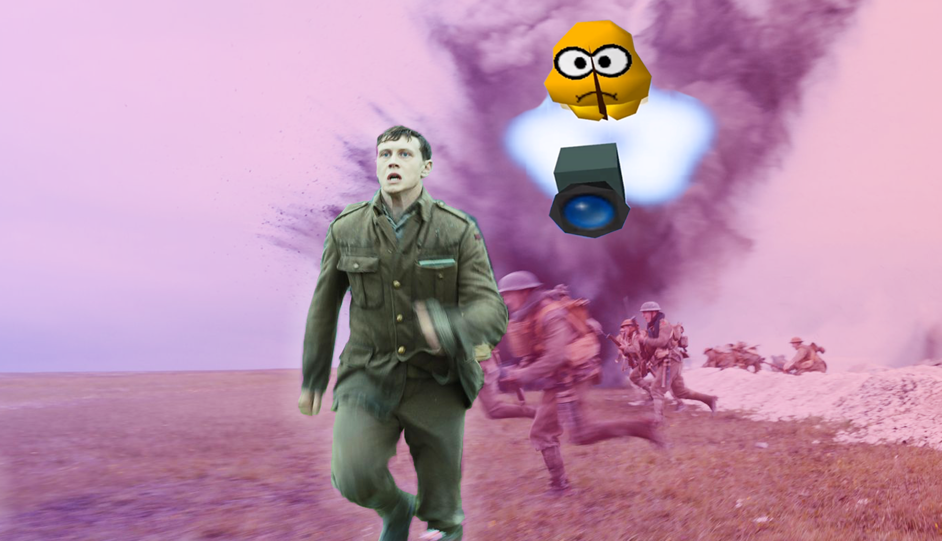 In a freeze frame from the film 1917, a World War I soldier runs toward the camera while the video game character Lakitu follows behind him with a video camera. There is a large explosion in the background behind them and other soldier running directly left.
