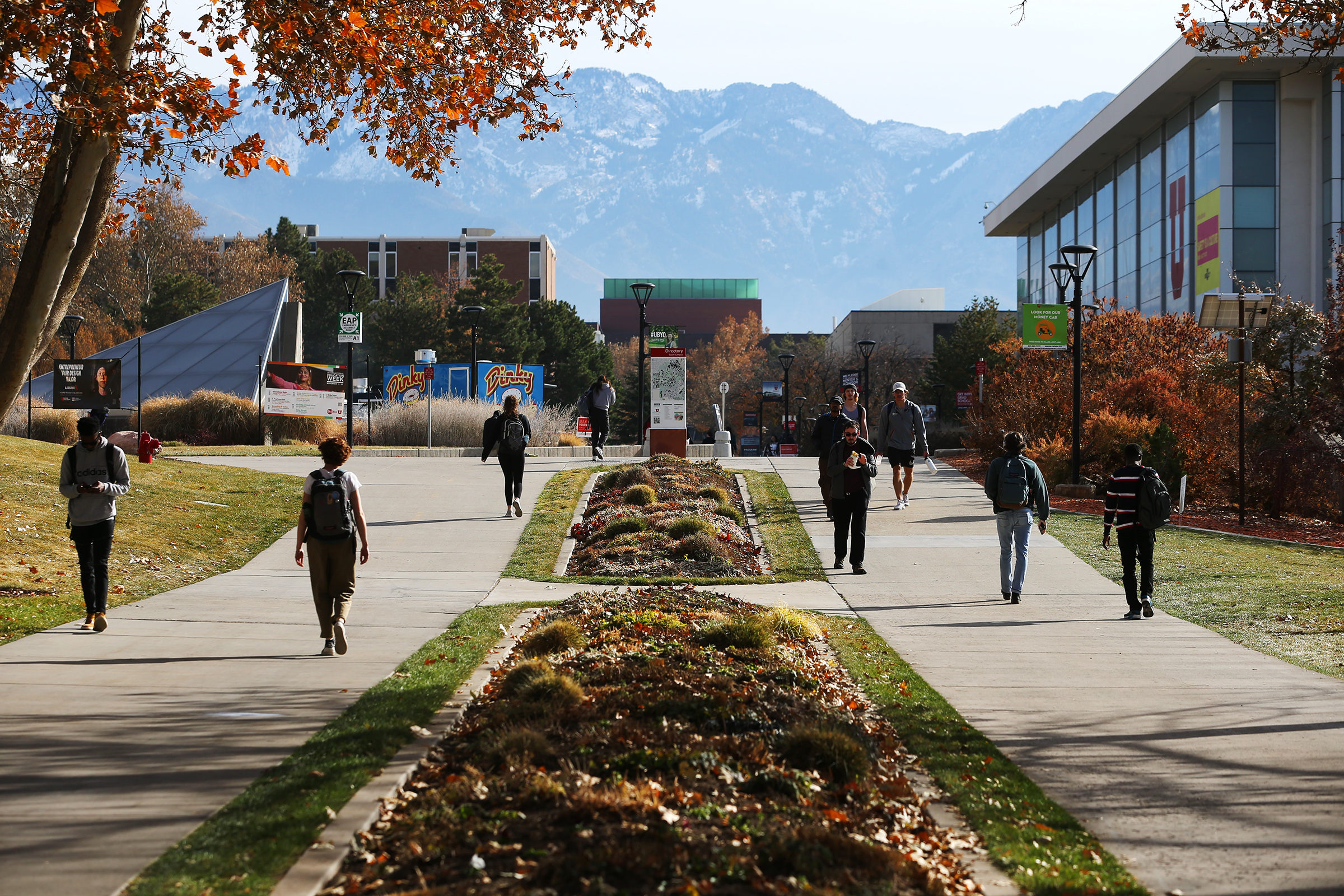 Students walk through the University of Utah campus in Salt Lake City on Monday, Nov. 18, 2019.