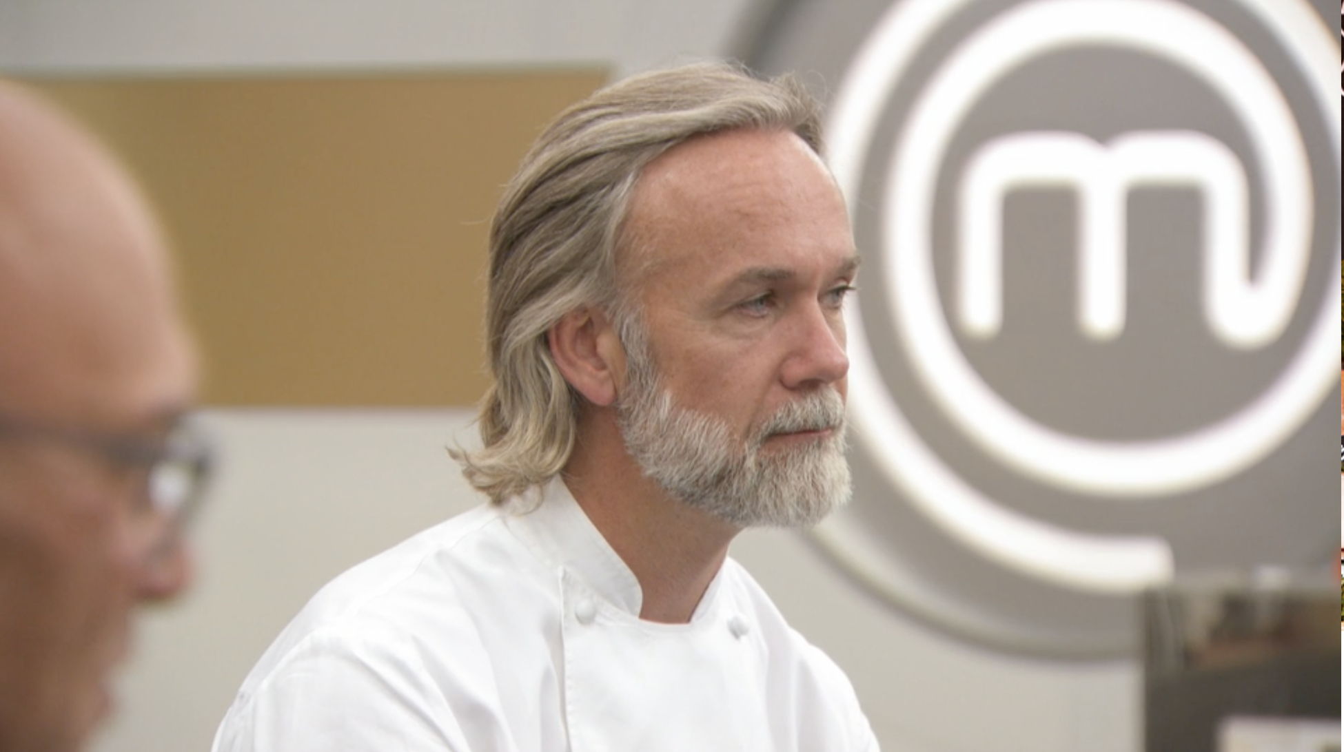 Marcus Wareing sits on the set of Masterchef the Professionals 2020