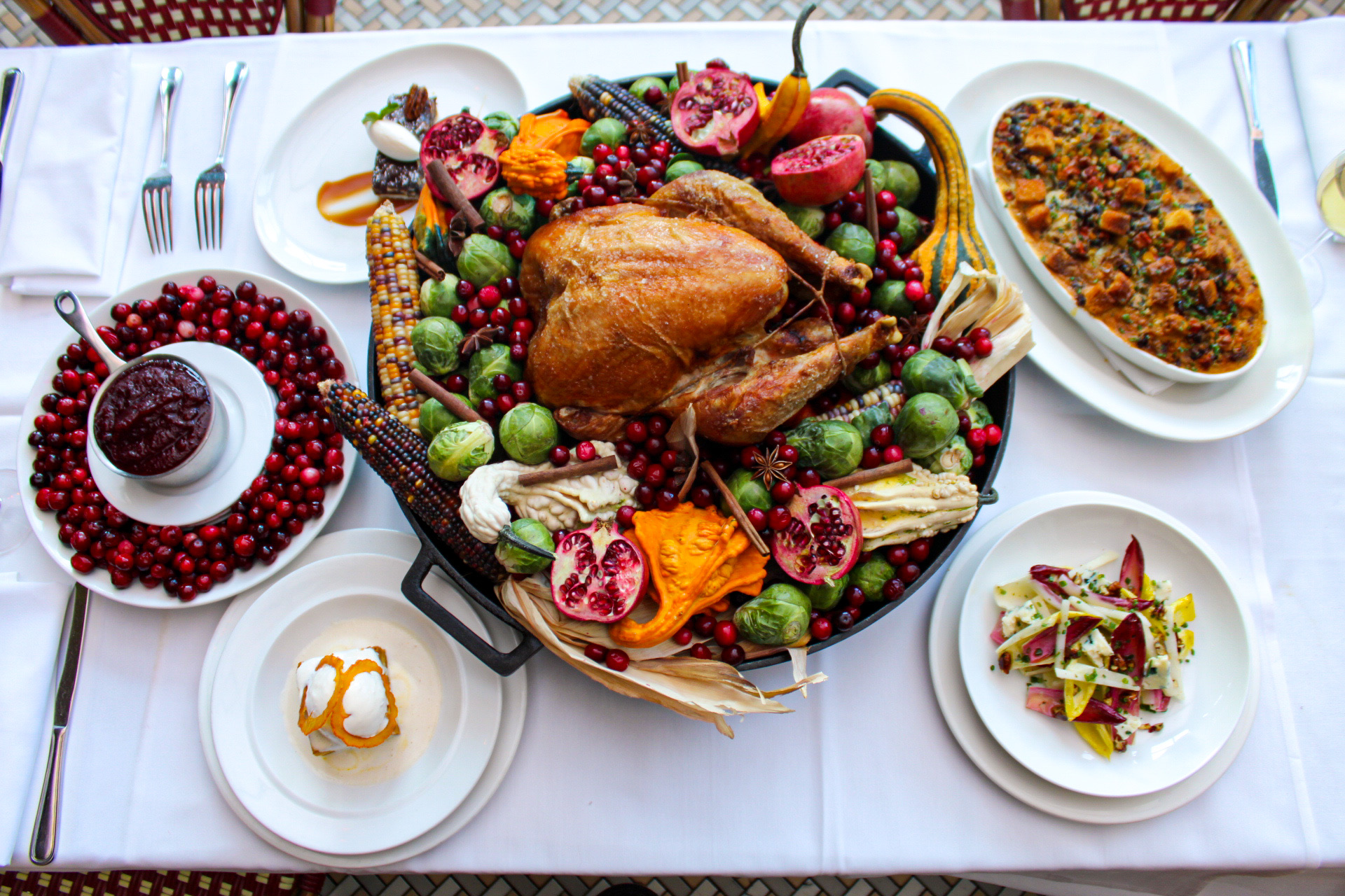 An overhead view of a turkey and sides at Mon Ami Gabi