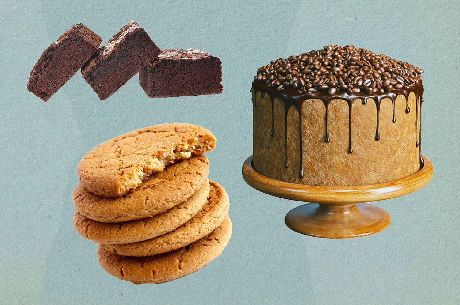 Three brownies, a stack of cookies, and a cake on a cake stand.