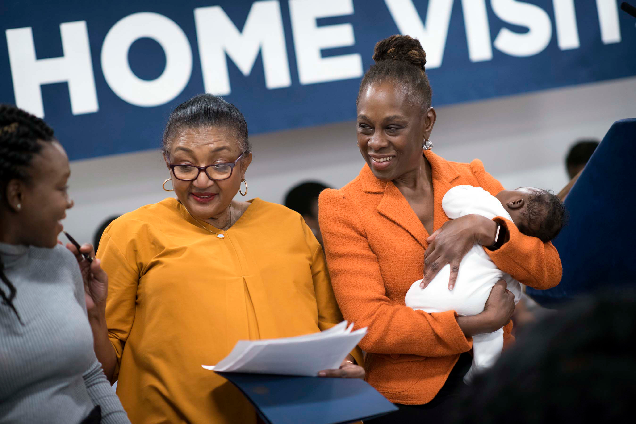 First Lady Chirlane McCray, right, announces a home visit program for new parents, Feb. 5, 2020.