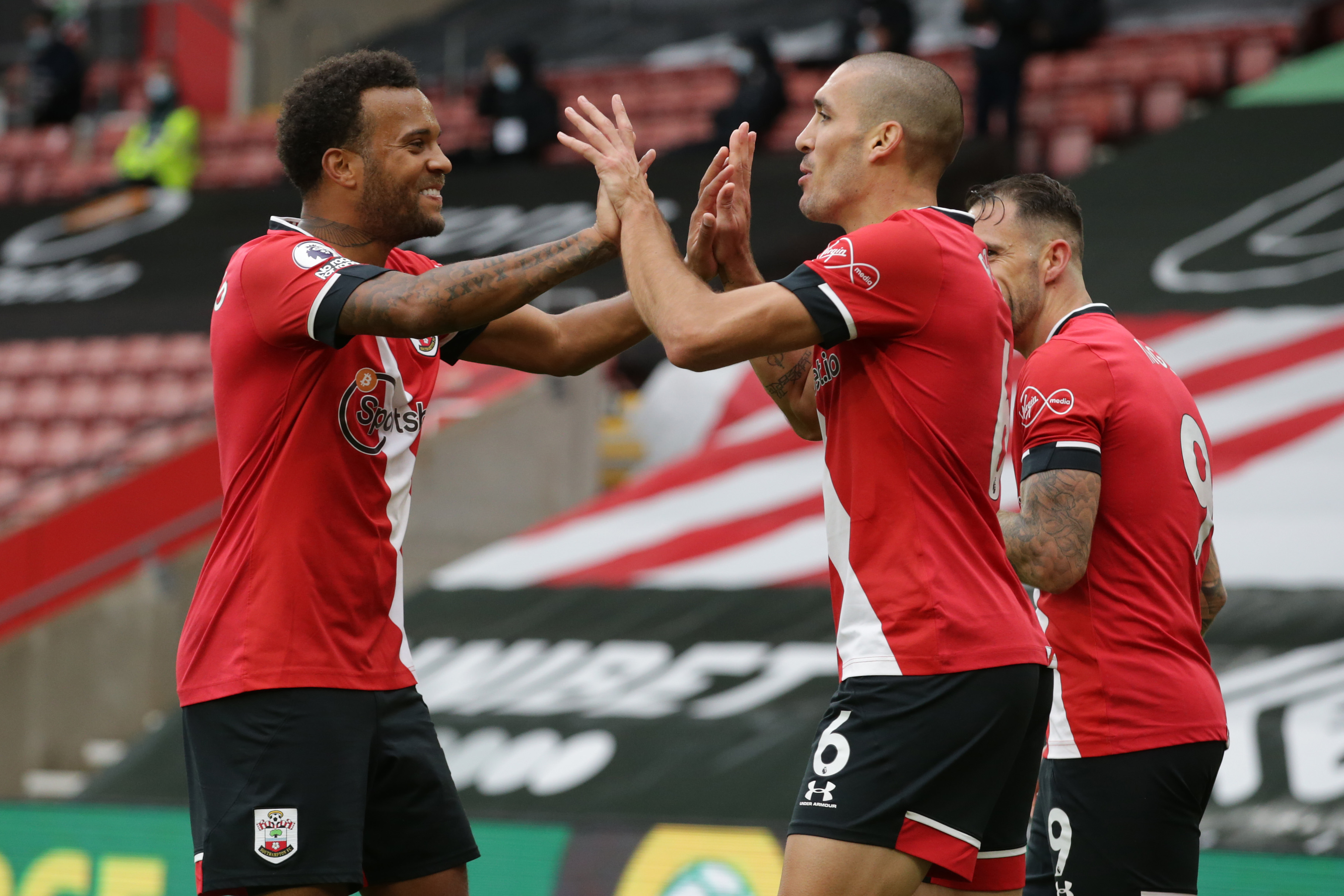 Oriol Romeu celebrating after scoring for Southampton against West Brom in the Premier League