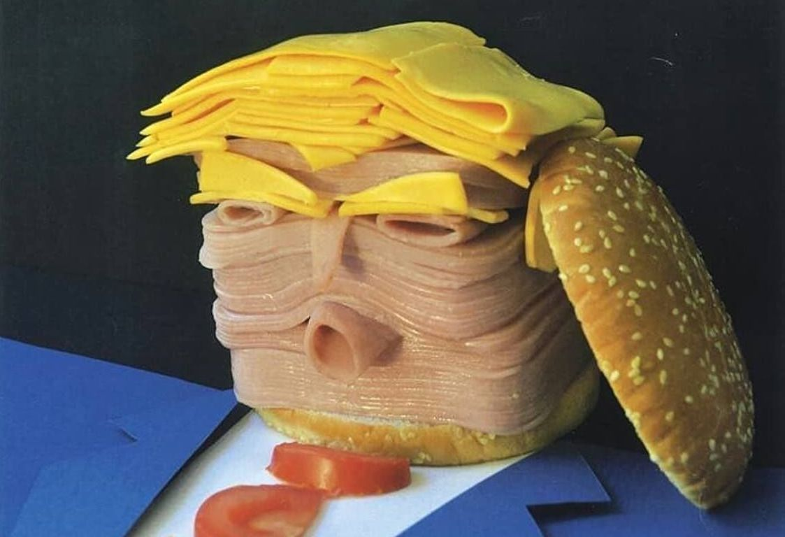 A ham, cheese, and tomato sculpture of Donald Trump